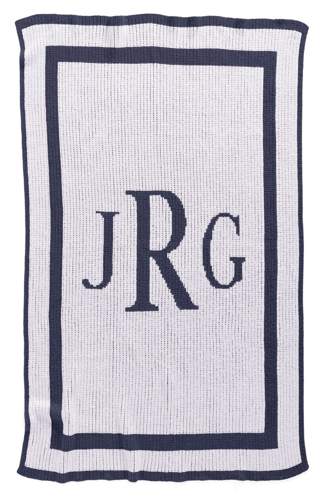 BUTTERSCOTCH BLANKEES, 'Classic Monogram' Personalized Stroller Blanket, Main thumbnail 1, color, WHITE/ NAVY