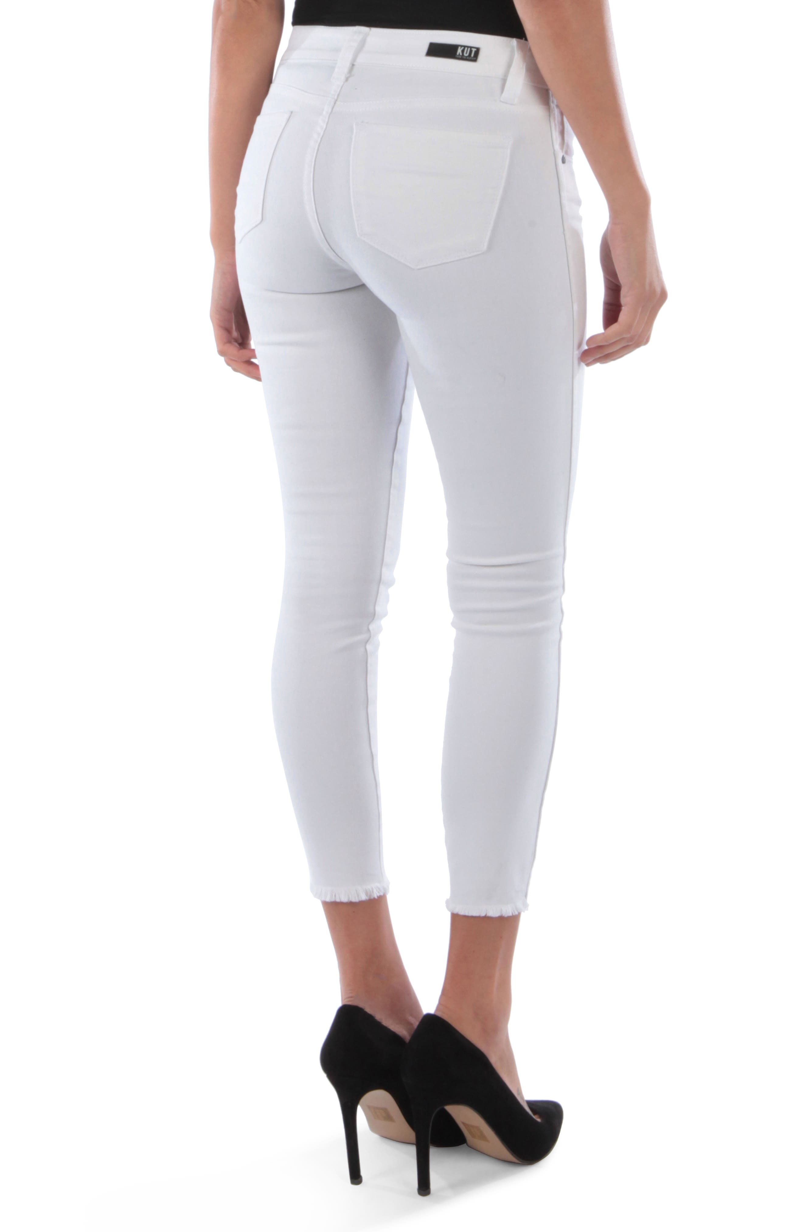 KUT FROM THE KLOTH, Connie Frayed Ankle Skinny Jeans, Alternate thumbnail 2, color, OPTICAL WHITE