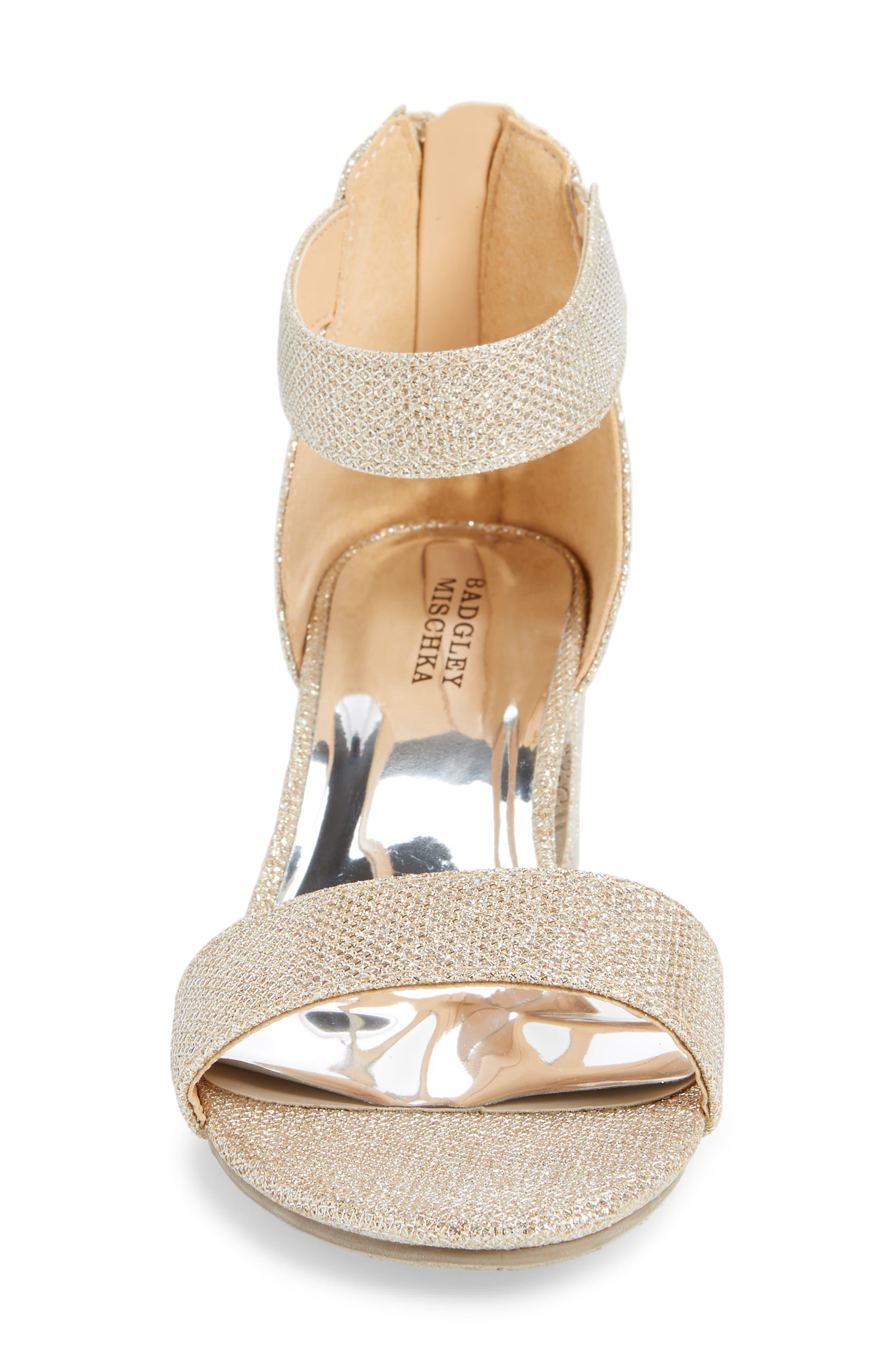 BADGLEY MISCHKA COLLECTION, Badgley Mischka Pernia Velma Shimmer Sandal, Alternate thumbnail 4, color, LIGHT GOLD SHIMMER