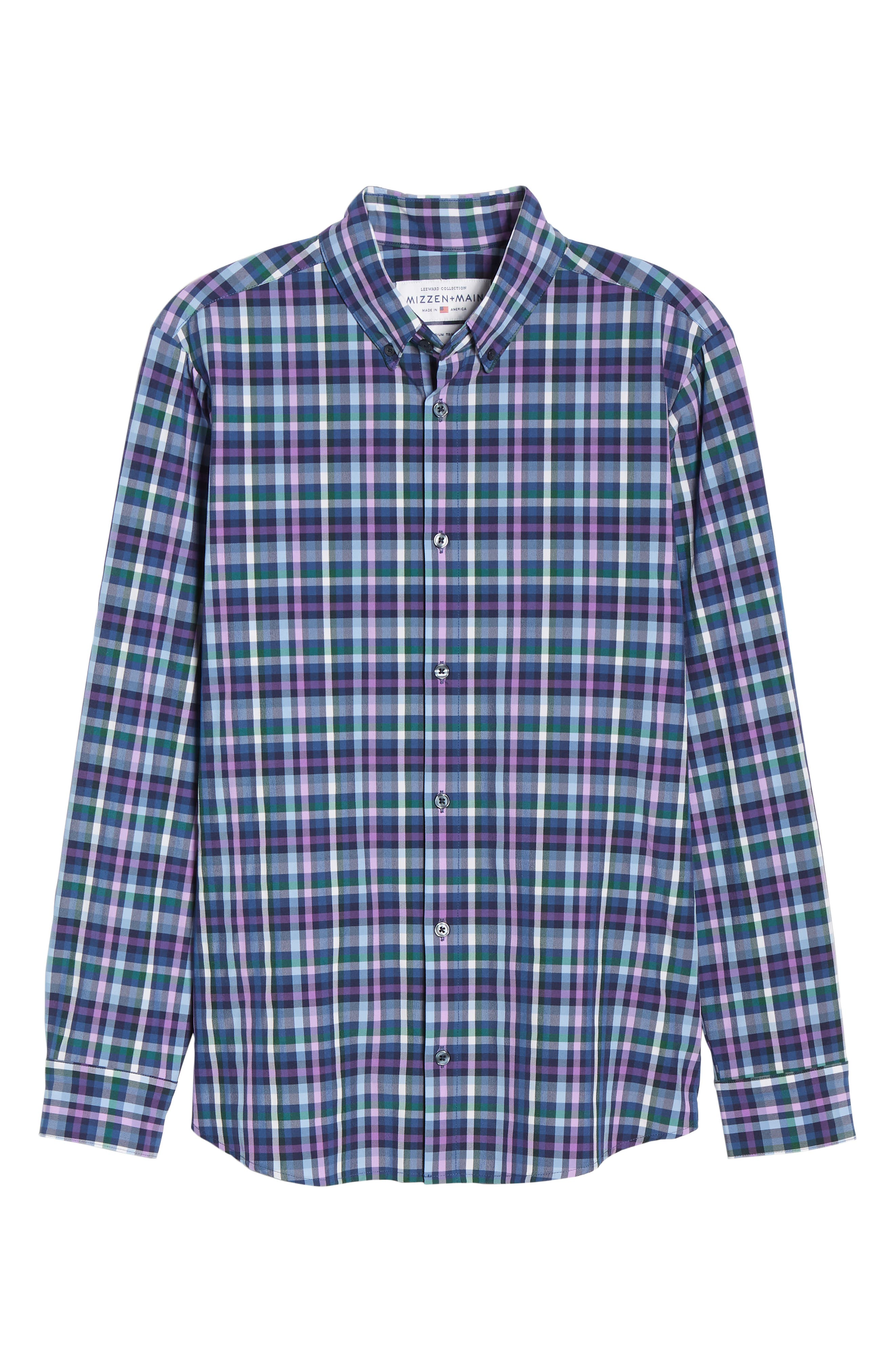 MIZZEN+MAIN, Snyder Plaid Performance Sport Shirt, Alternate thumbnail 5, color, NAVY