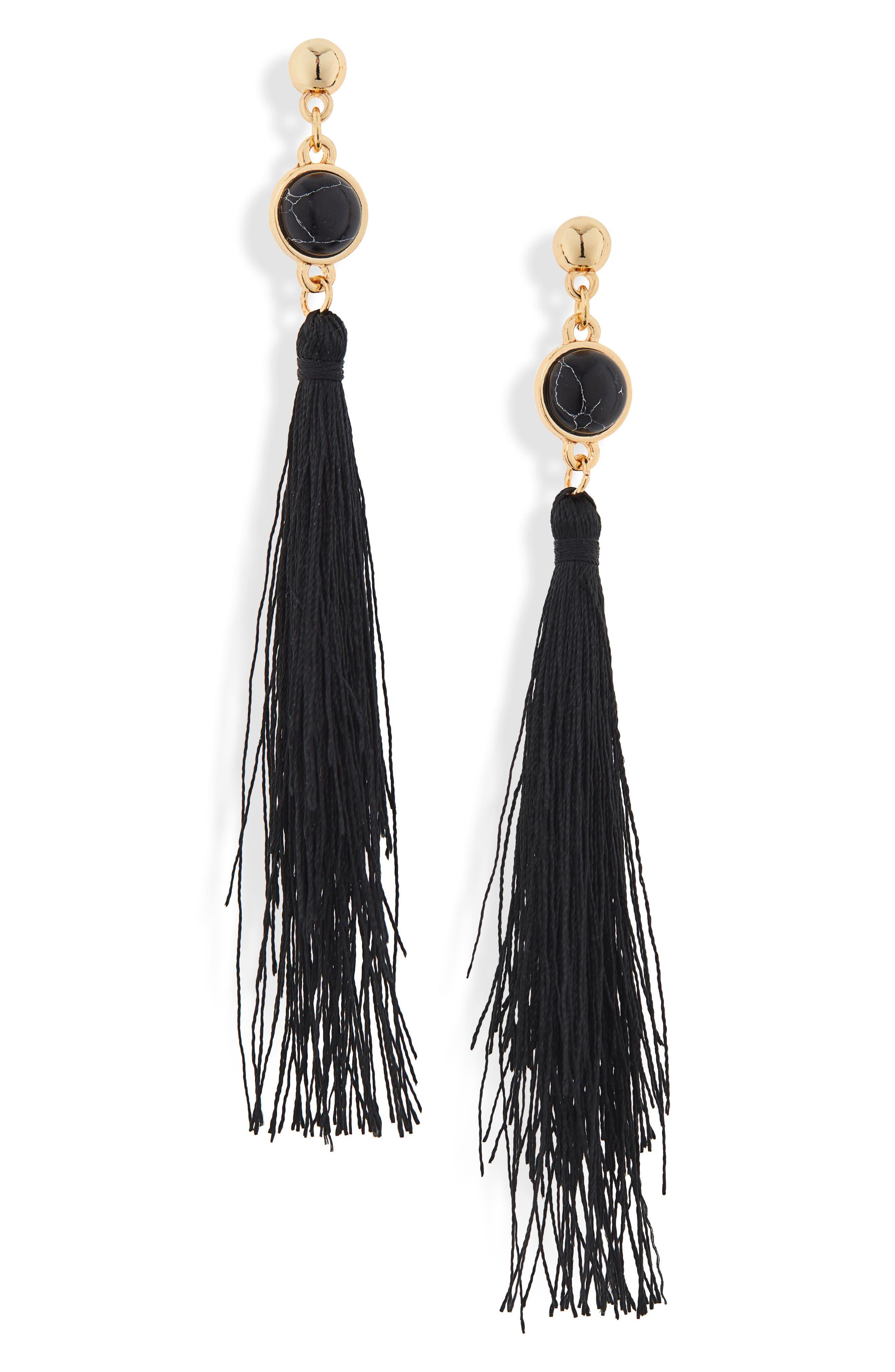 UNCOMMON JAMES BY KRISTIN CAVALLARI Strawberry Fields Jasper Tassel Earrings, Main, color, BLACK