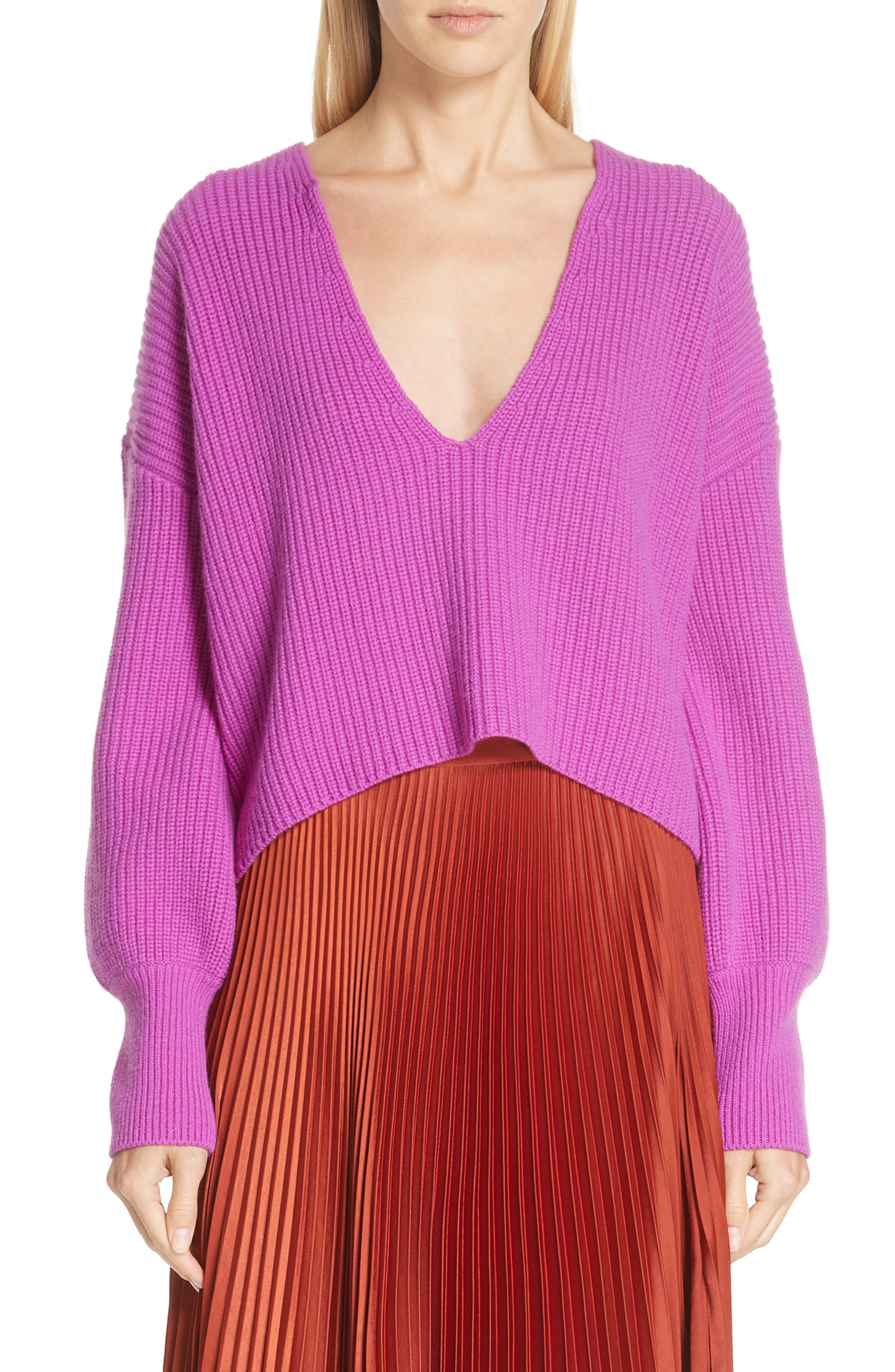 A.l.c. Melanie Plunging Merino Wool Sweater, Purple