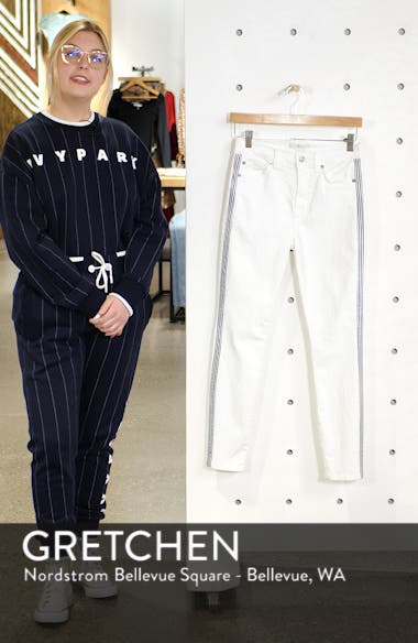 Side Stripe High Waist Ankle Skinny Jeans, sales video thumbnail