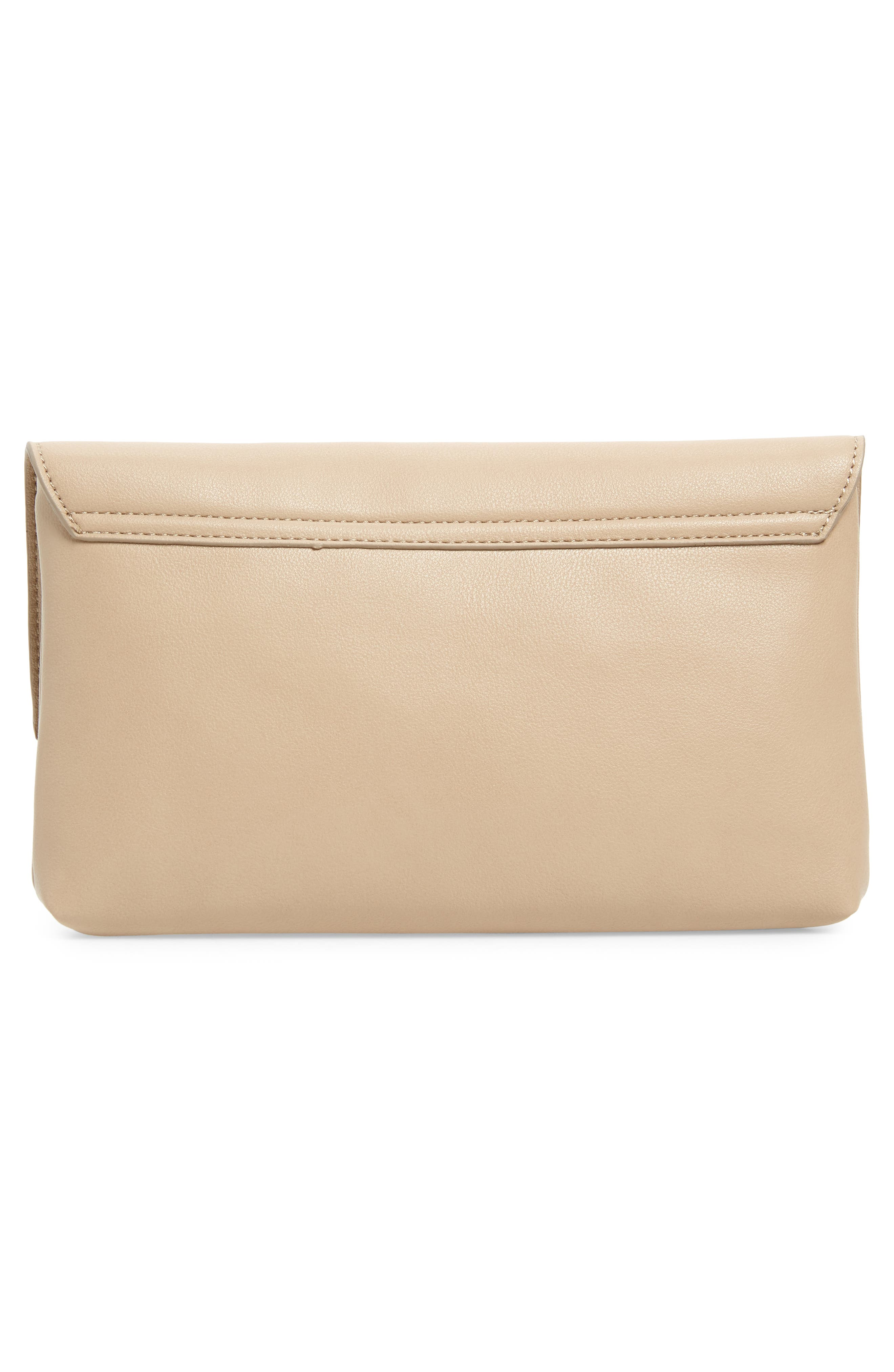 LEITH, Resin Handle Clutch, Alternate thumbnail 4, color, TAUPE/ IVORY
