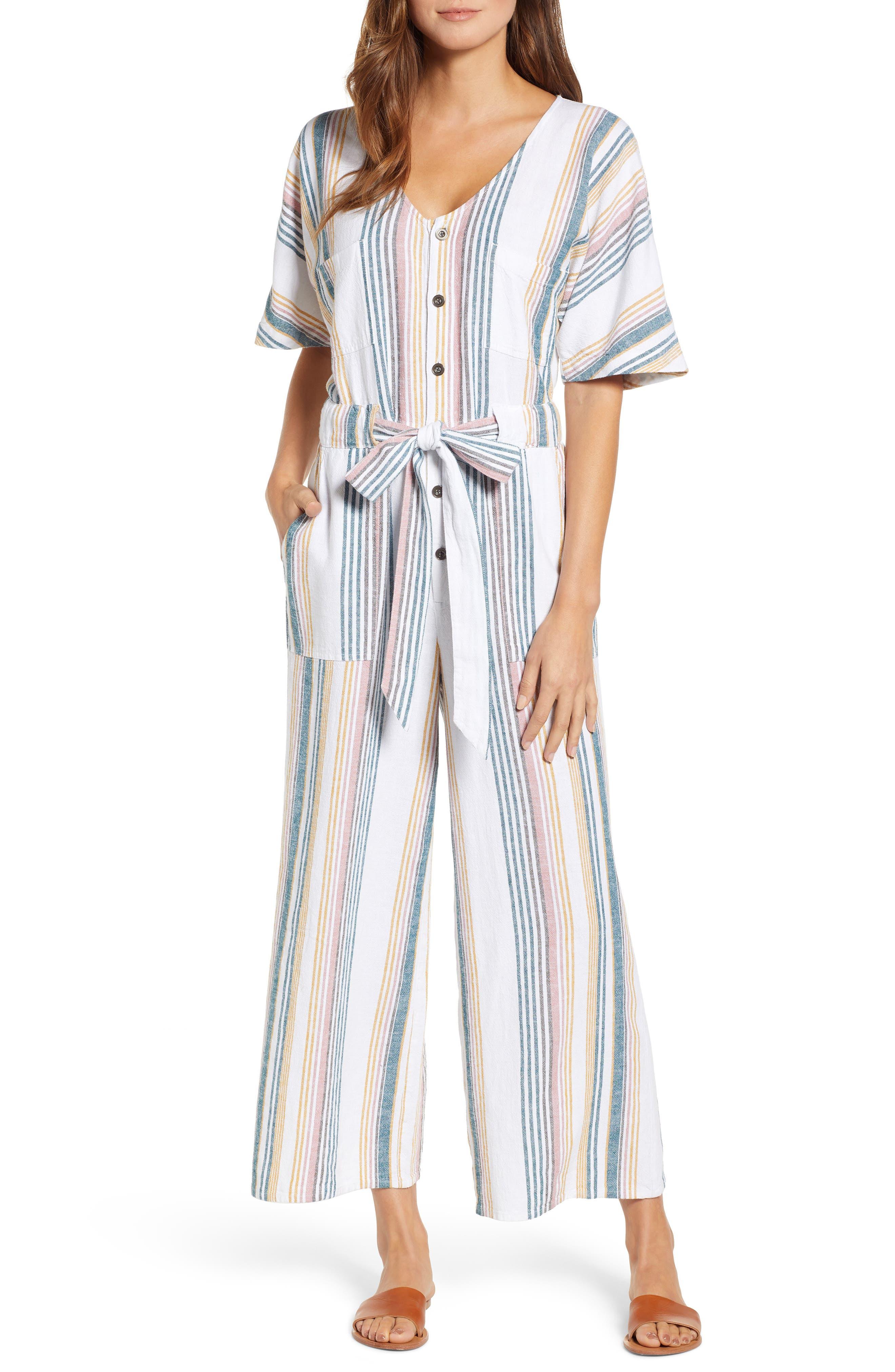 CASLON<SUP>®</SUP>, Stripe Jumpsuit, Main thumbnail 1, color, IVORY MULTI STRIPE
