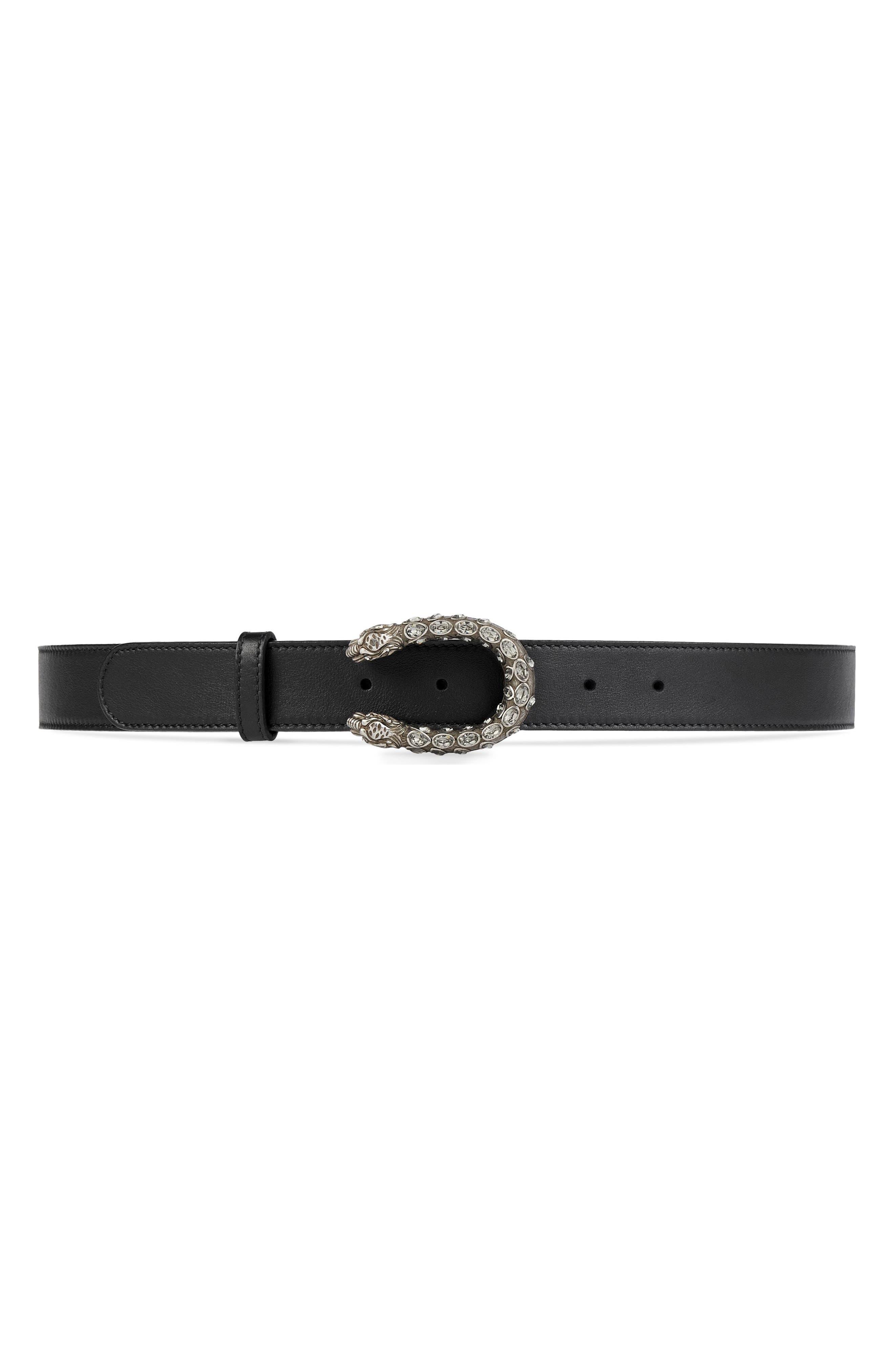 GUCCI Leather Belt, Main, color, BLACK DIAM