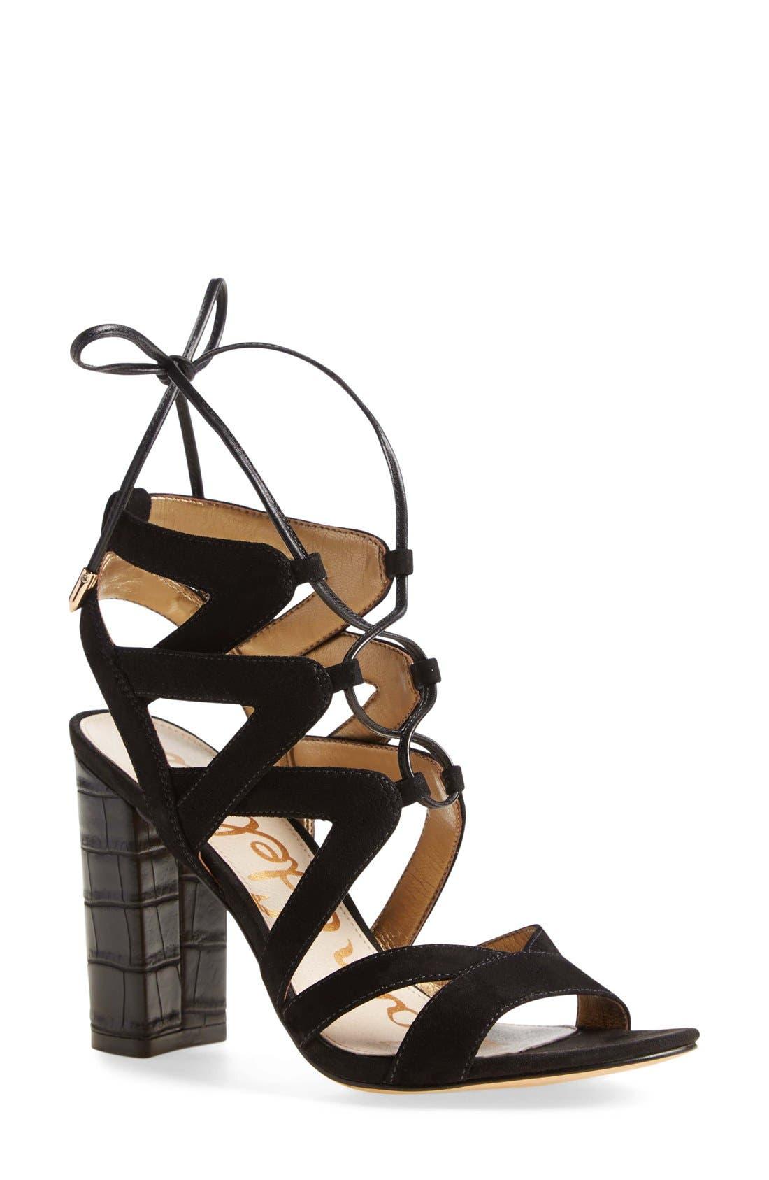 SAM EDELMAN 'Yardley' Lace-Up Sandal, Main, color, 001