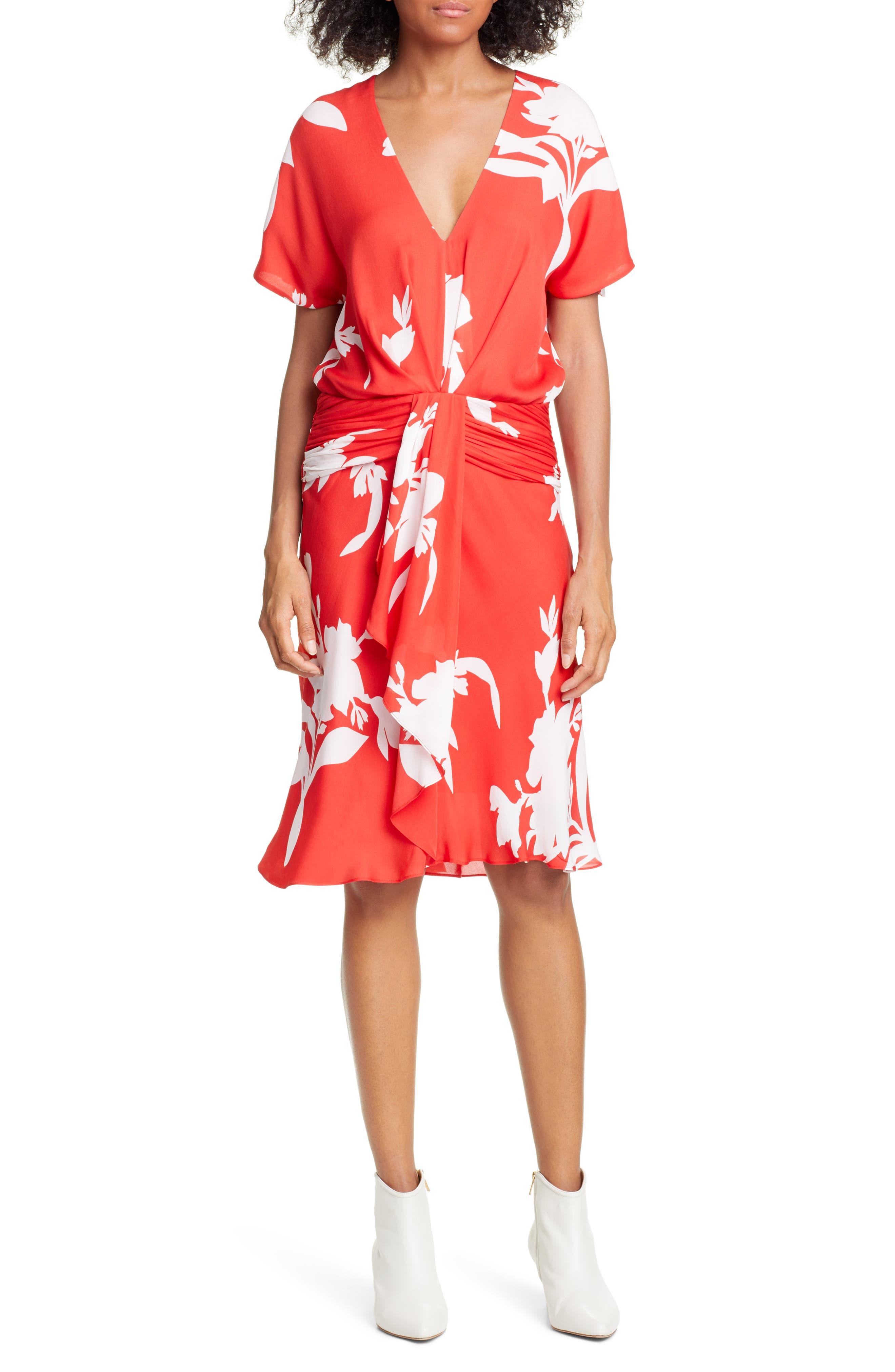 Joie Ashleena Silk Dress, Red