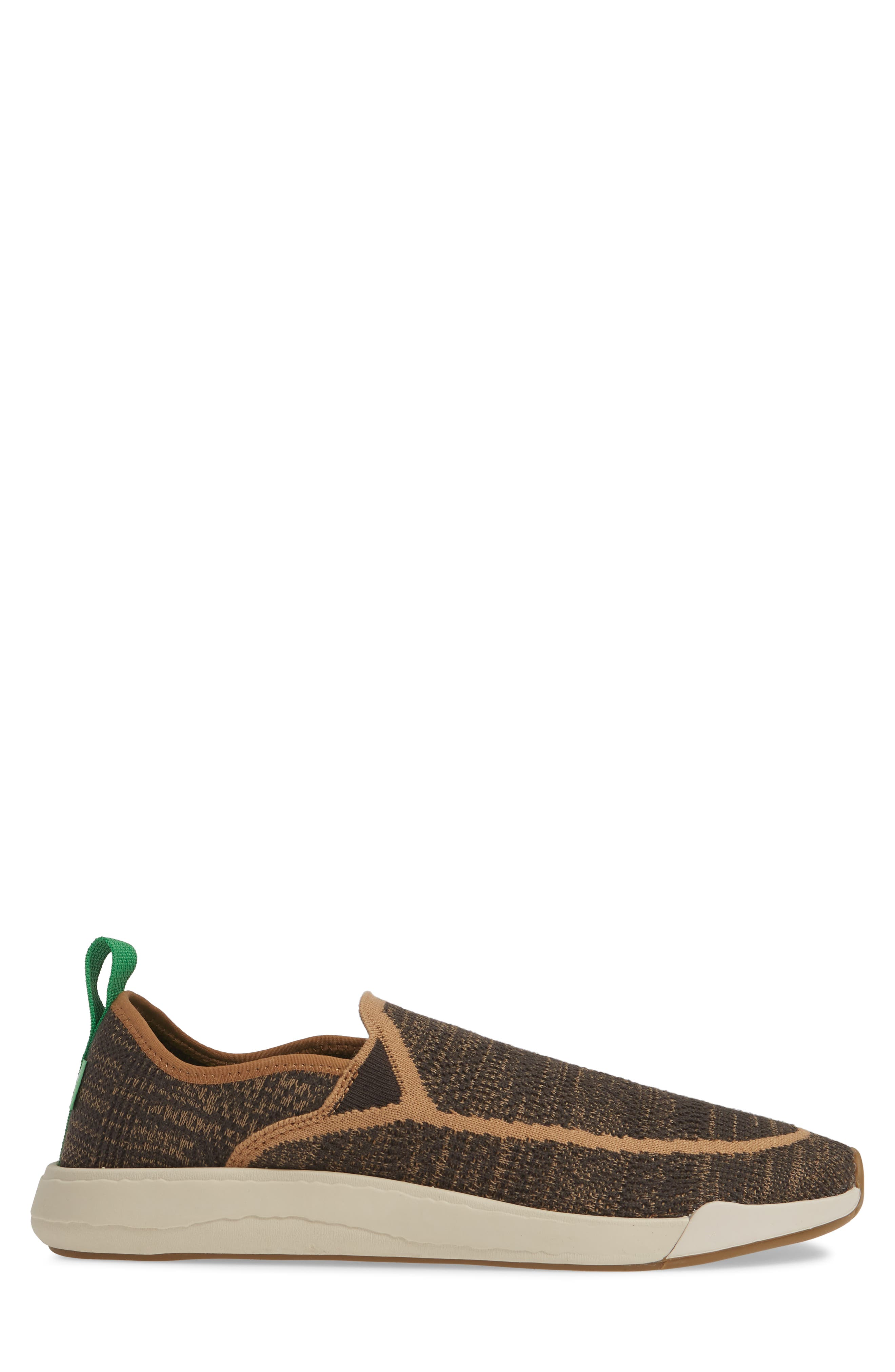 SANUK, Chiba Quest Knit Slip-On Sneaker, Alternate thumbnail 3, color, BROWN NATURAL