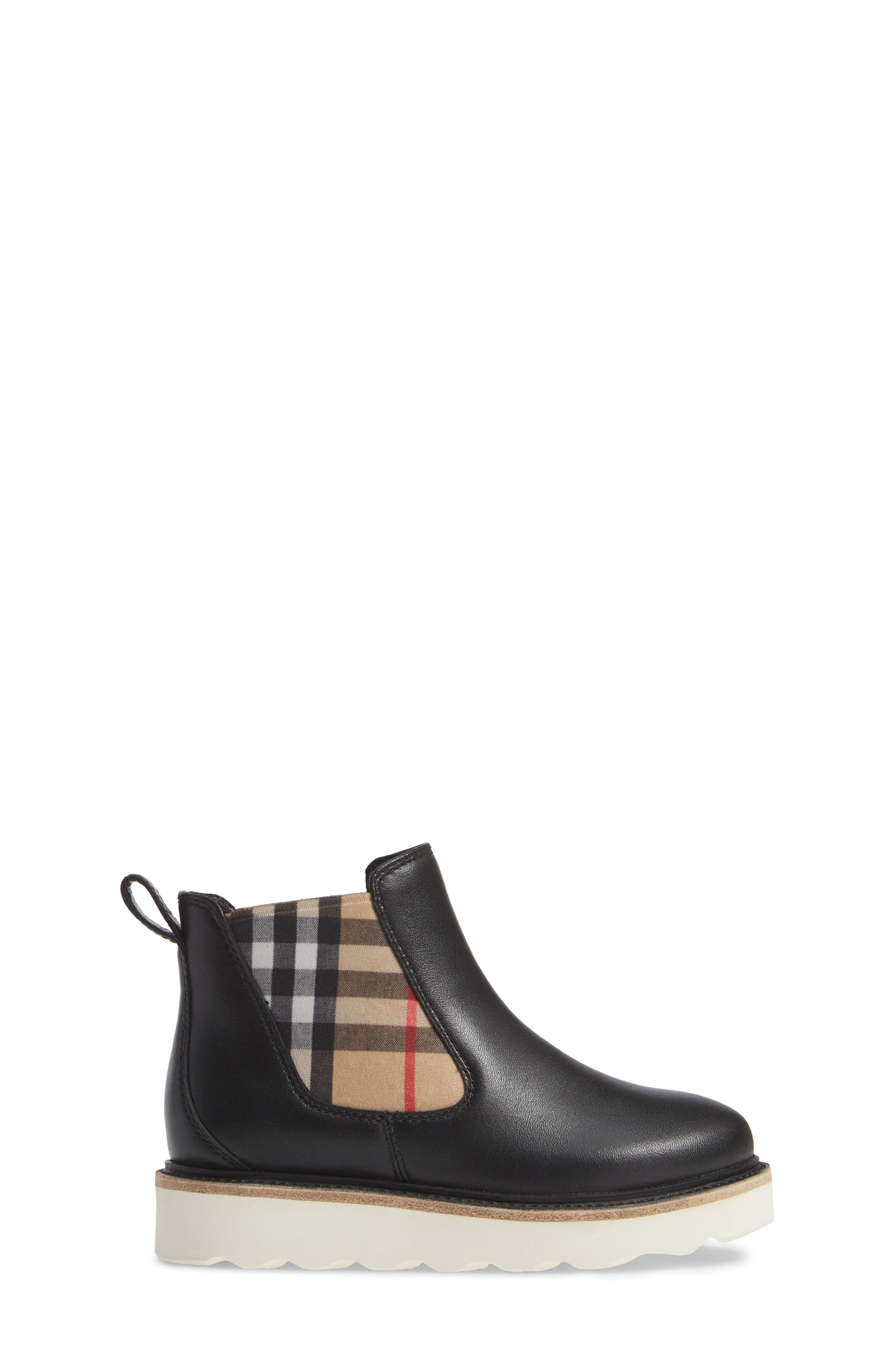 BURBERRY, Hayden Check Chelsea Bootie, Alternate thumbnail 3, color, BLACK
