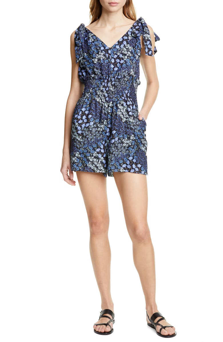 Rebecca Taylor Tops AVA FLORAL SMOCK WAIST SILK ROMPER