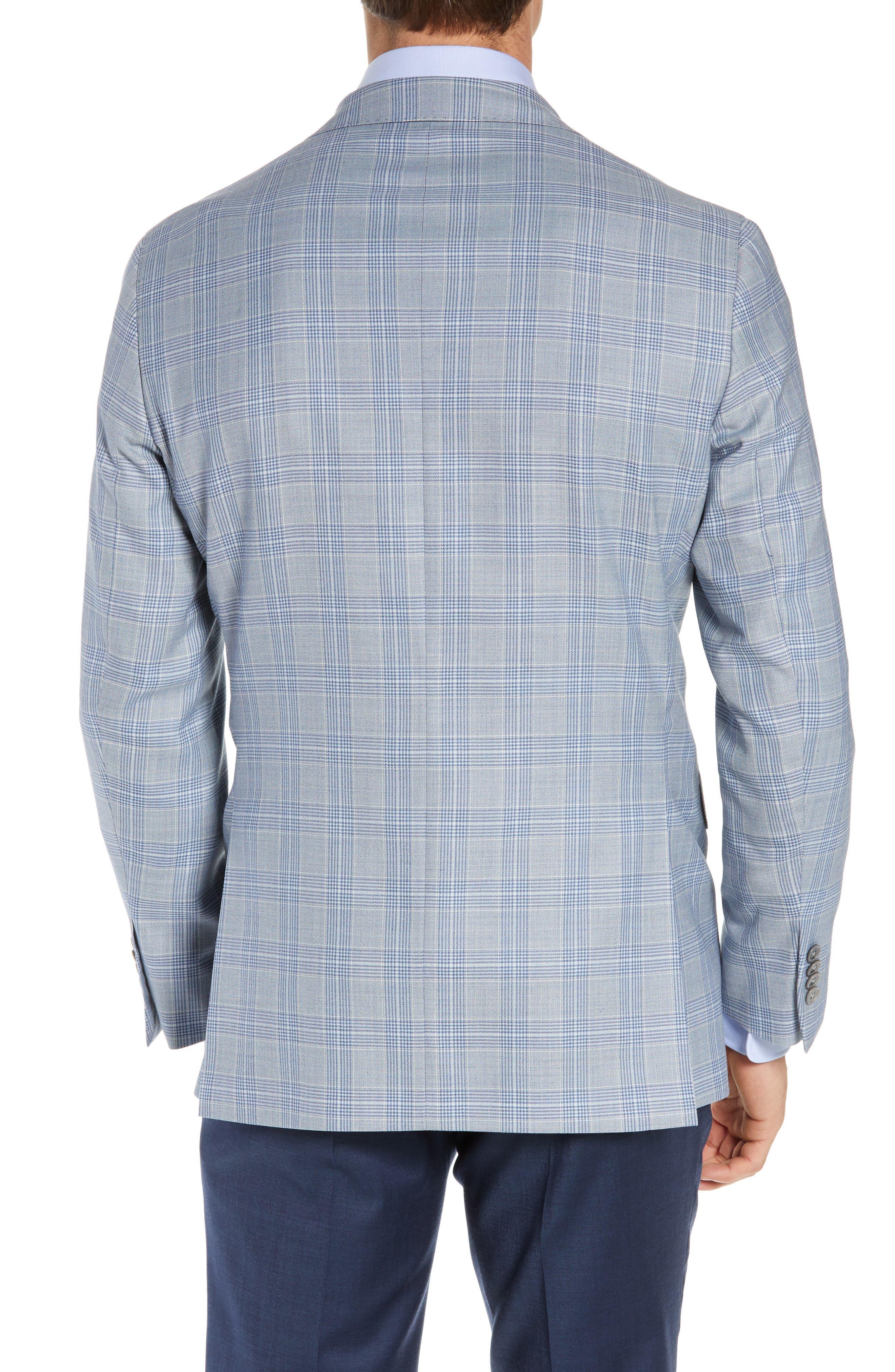 DAVID DONAHUE, Arnold Classic Fit Plaid Wool Sport Coat, Alternate thumbnail 2, color, BLUE