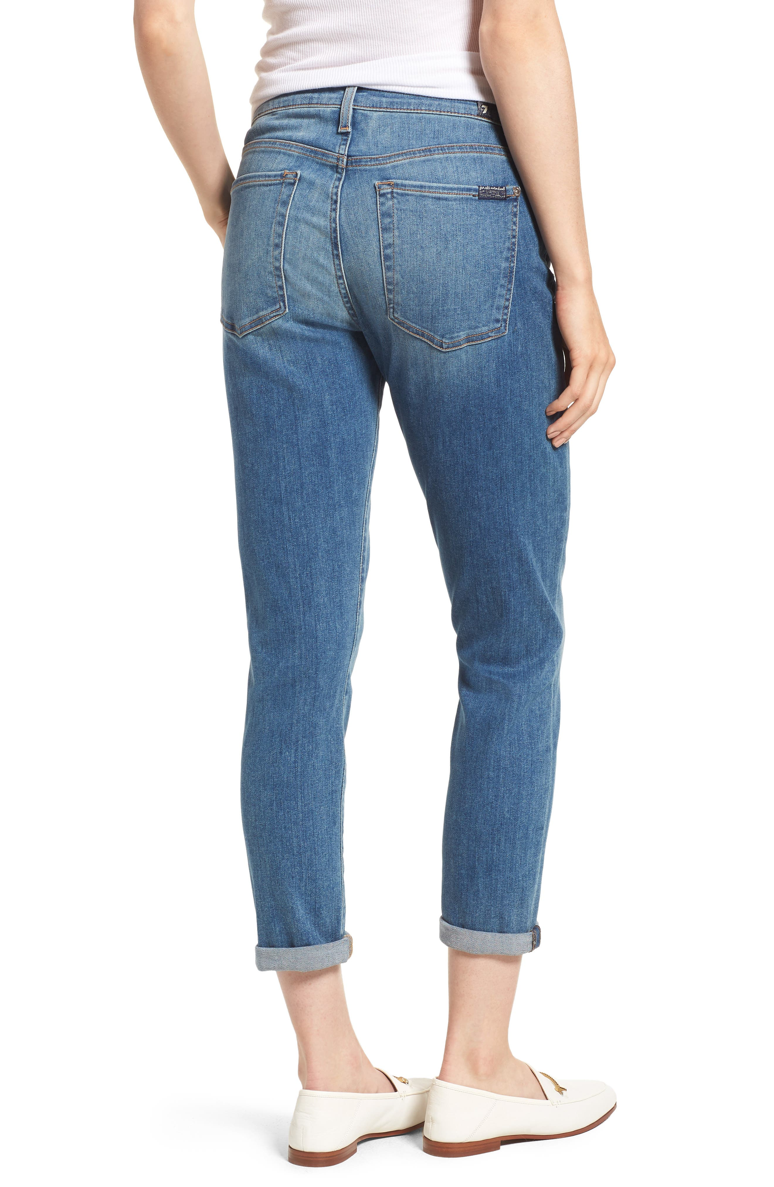 7 FOR ALL MANKIND<SUP>®</SUP>, Josefina Crop Boyfriend Jeans, Alternate thumbnail 2, color, GILDED DAWN