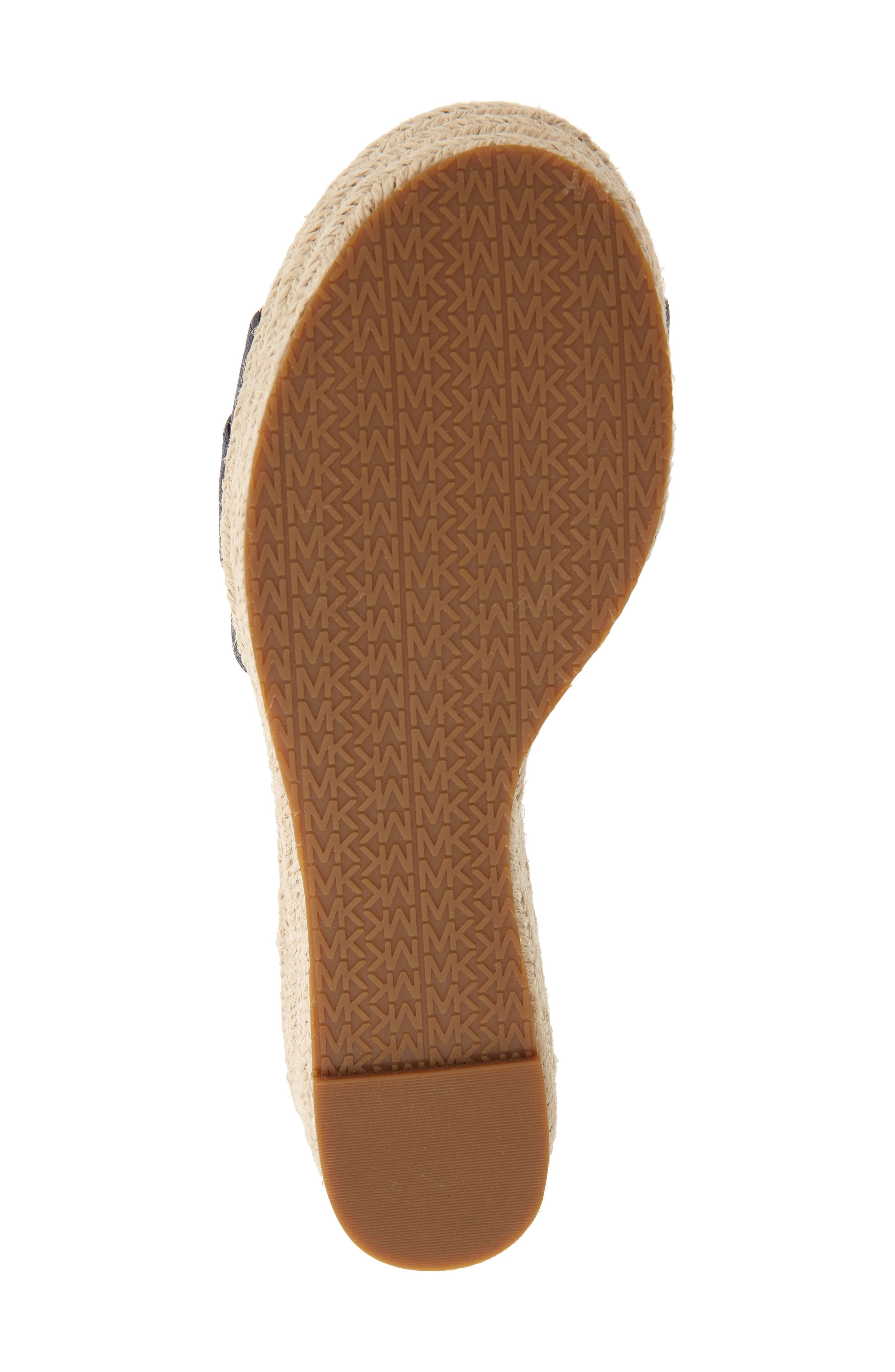 MICHAEL MICHAEL KORS, Brady Platform Slide Sandal, Alternate thumbnail 6, color, ADMIRAL SAFFIANO LEATHER