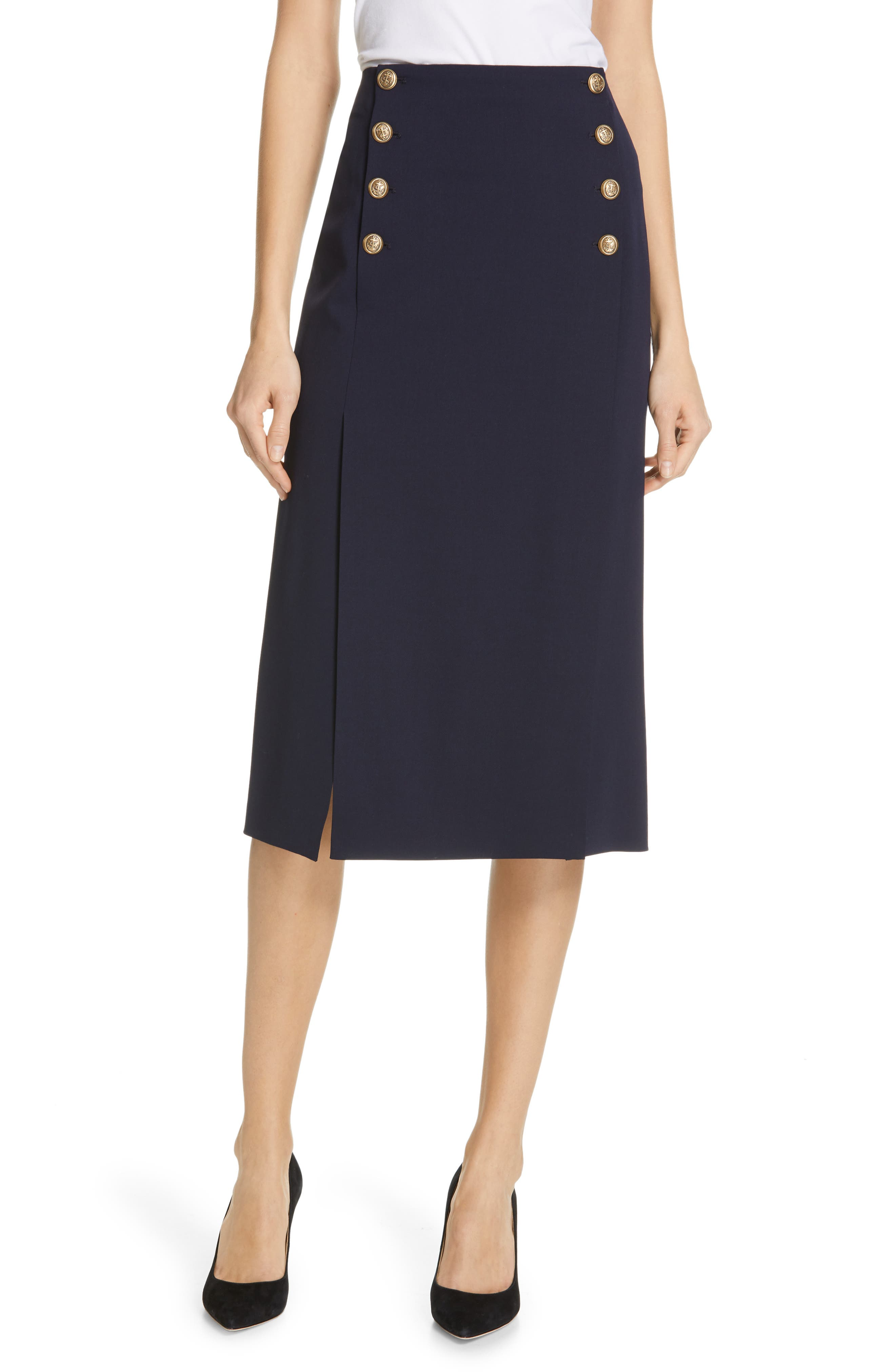 POLO RALPH LAUREN A-Line Skirt, Main, color, NAVY