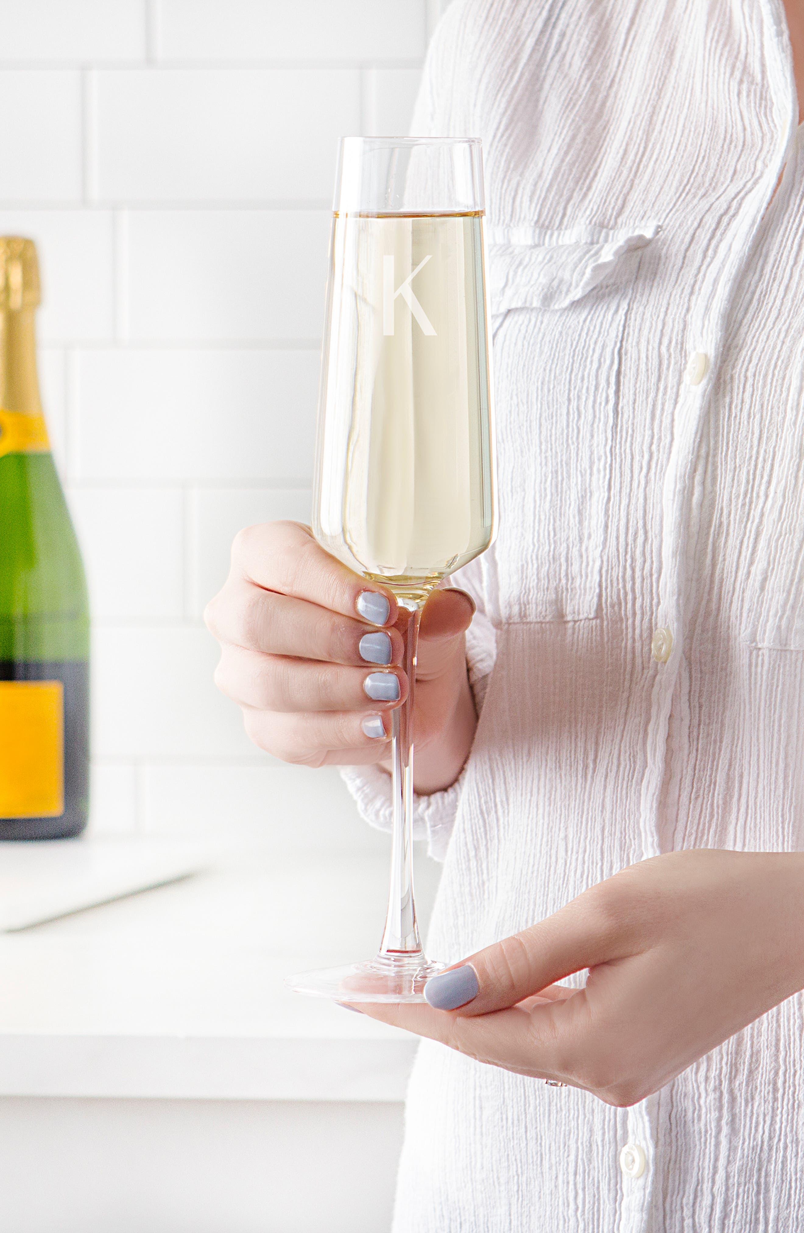 CATHY'S CONCEPTS, Estate Collection Set of 4 Monogram Champagne Flutes, Alternate thumbnail 7, color, A