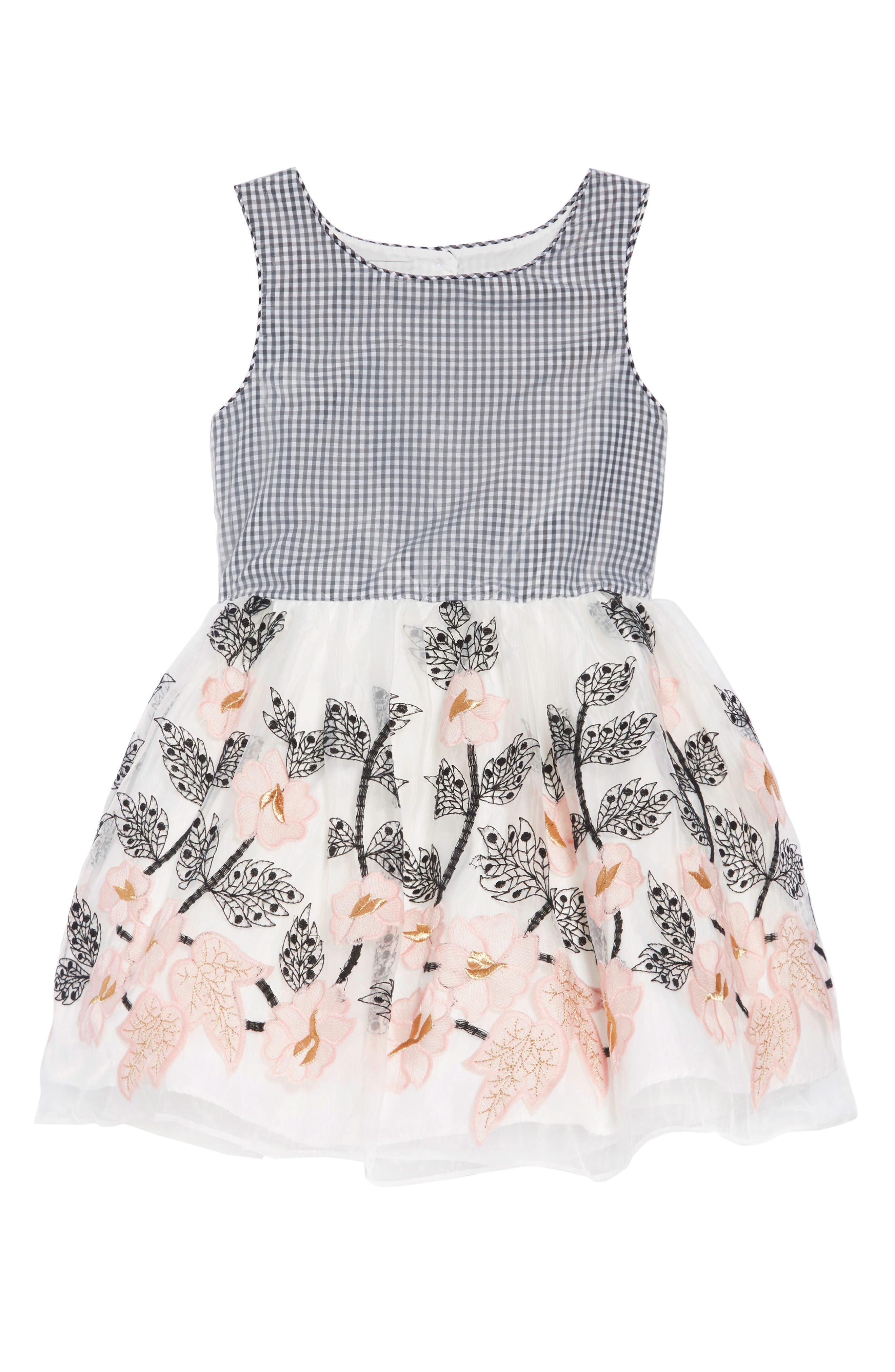 PIPPA & JULIE, Gingham & Floral Embellished Dress, Main thumbnail 1, color, BLACK/ WHITE