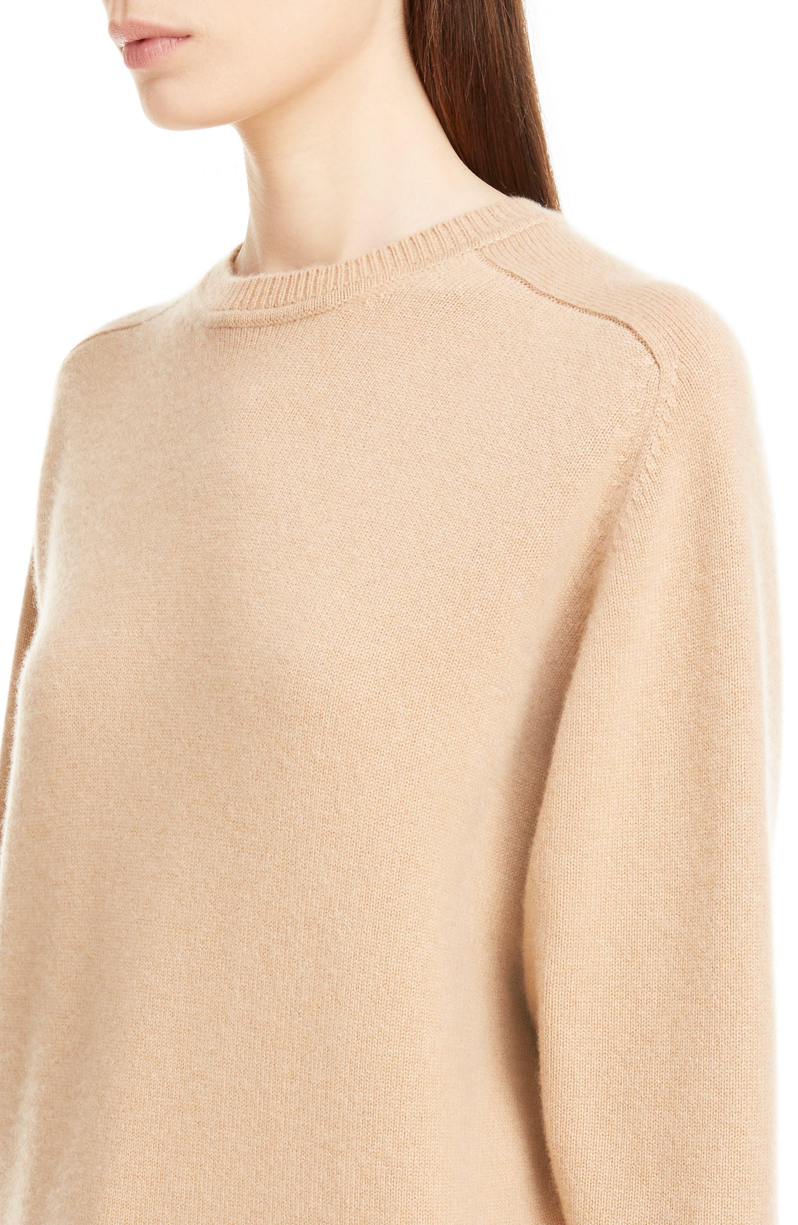 VICTORIA BECKHAM, Cashmere Blend Sweater, Alternate thumbnail 4, color, LIGHT CAMEL