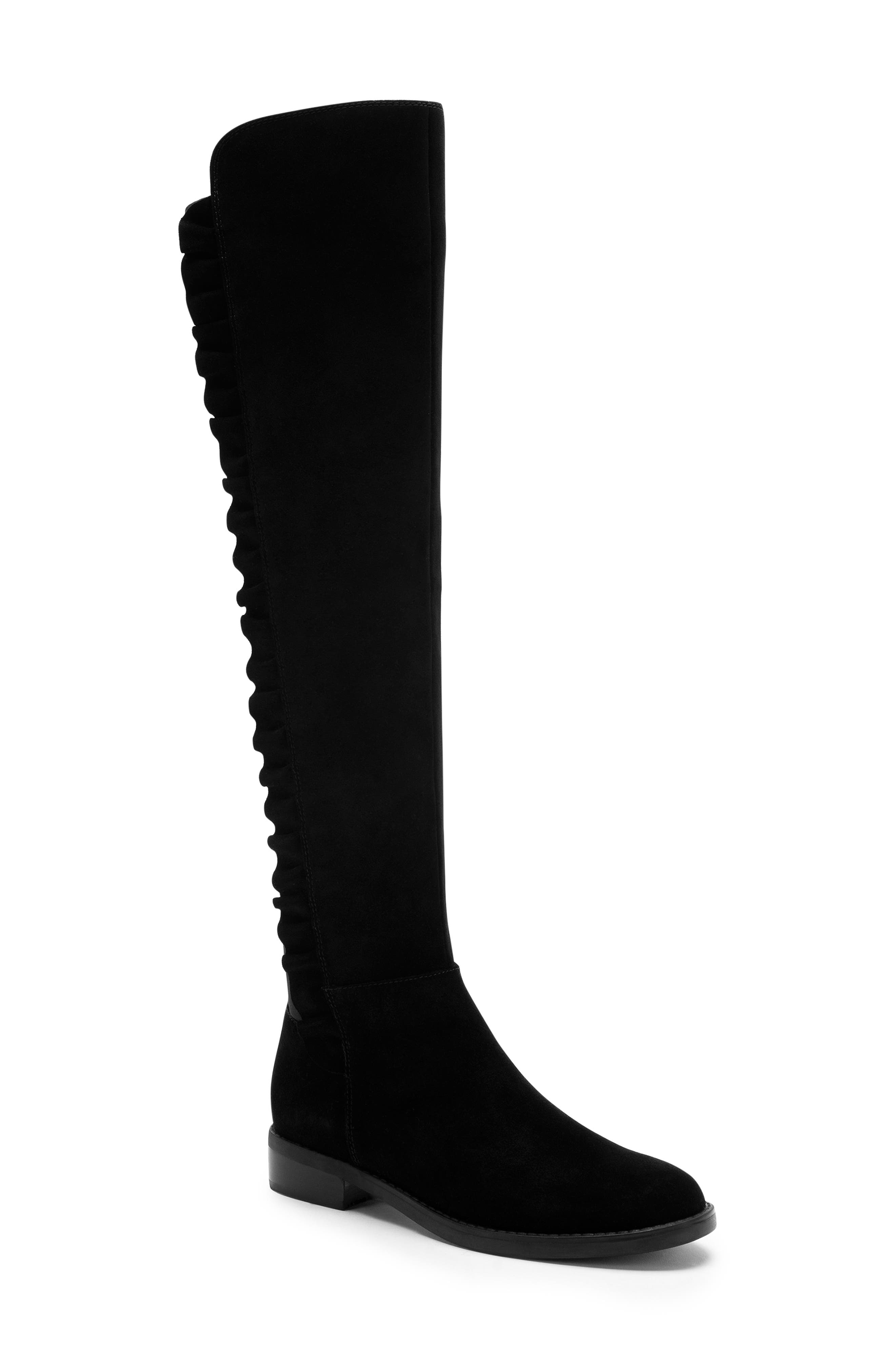 BLONDO Ethos Over the Knee Waterproof Stretch Boot, Main, color, BLACK SUEDE