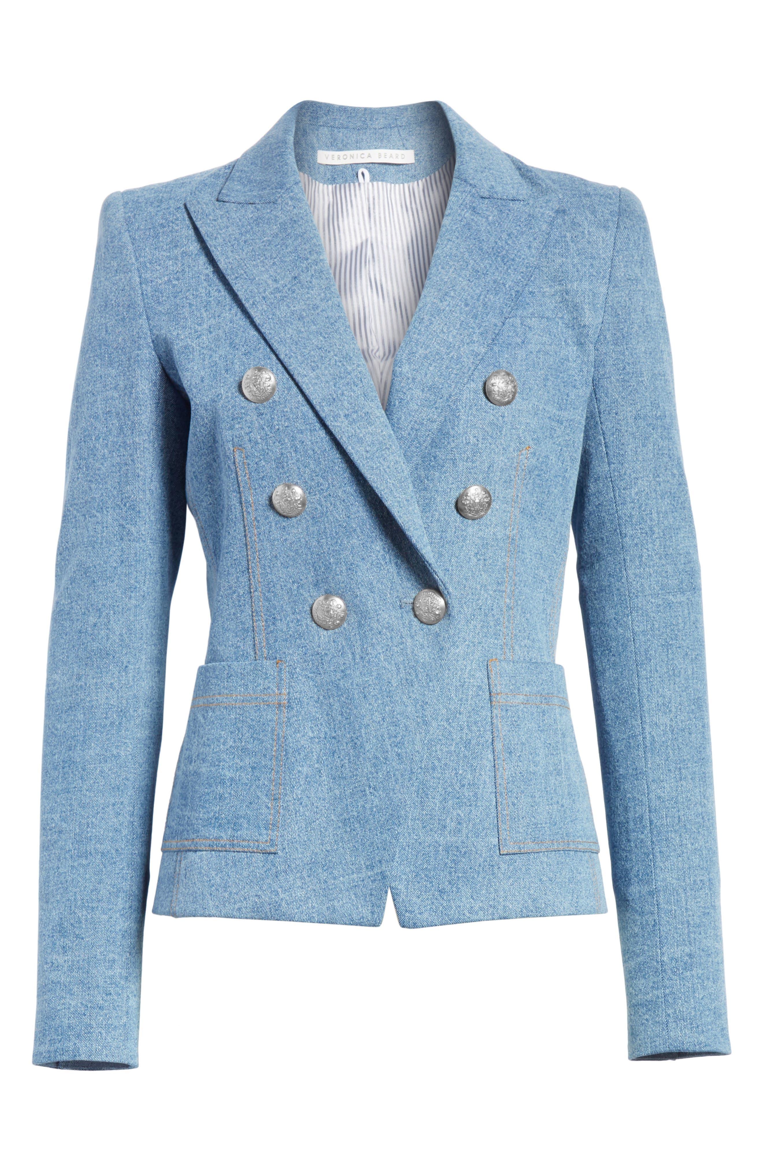 VERONICA BEARD, Caden Denim Dickey Jacket, Main thumbnail 1, color, MID BLUE