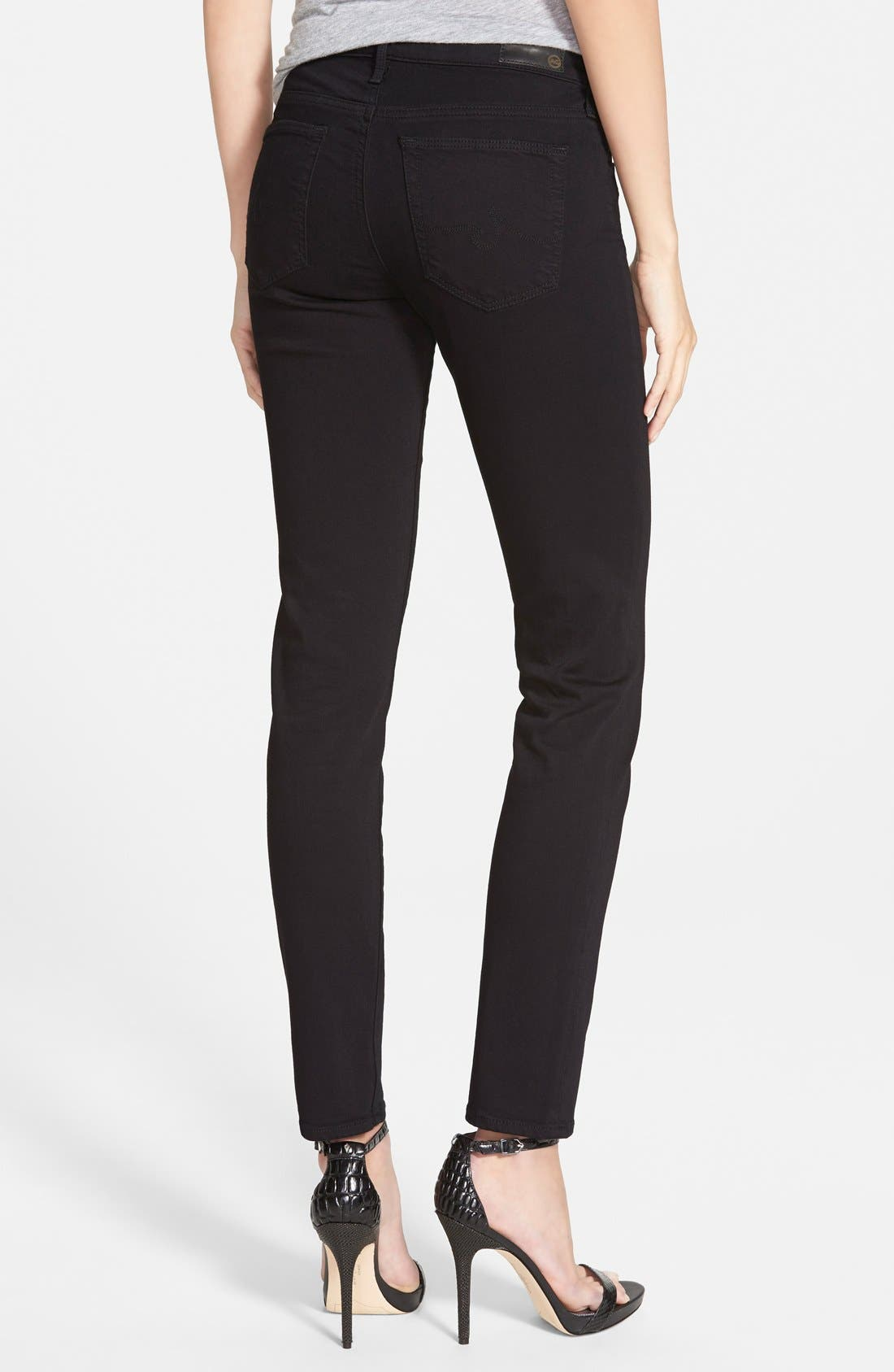 AG, 'Prima' Mid Rise Cigarette Jeans, Alternate thumbnail 2, color, SUPER BLACK