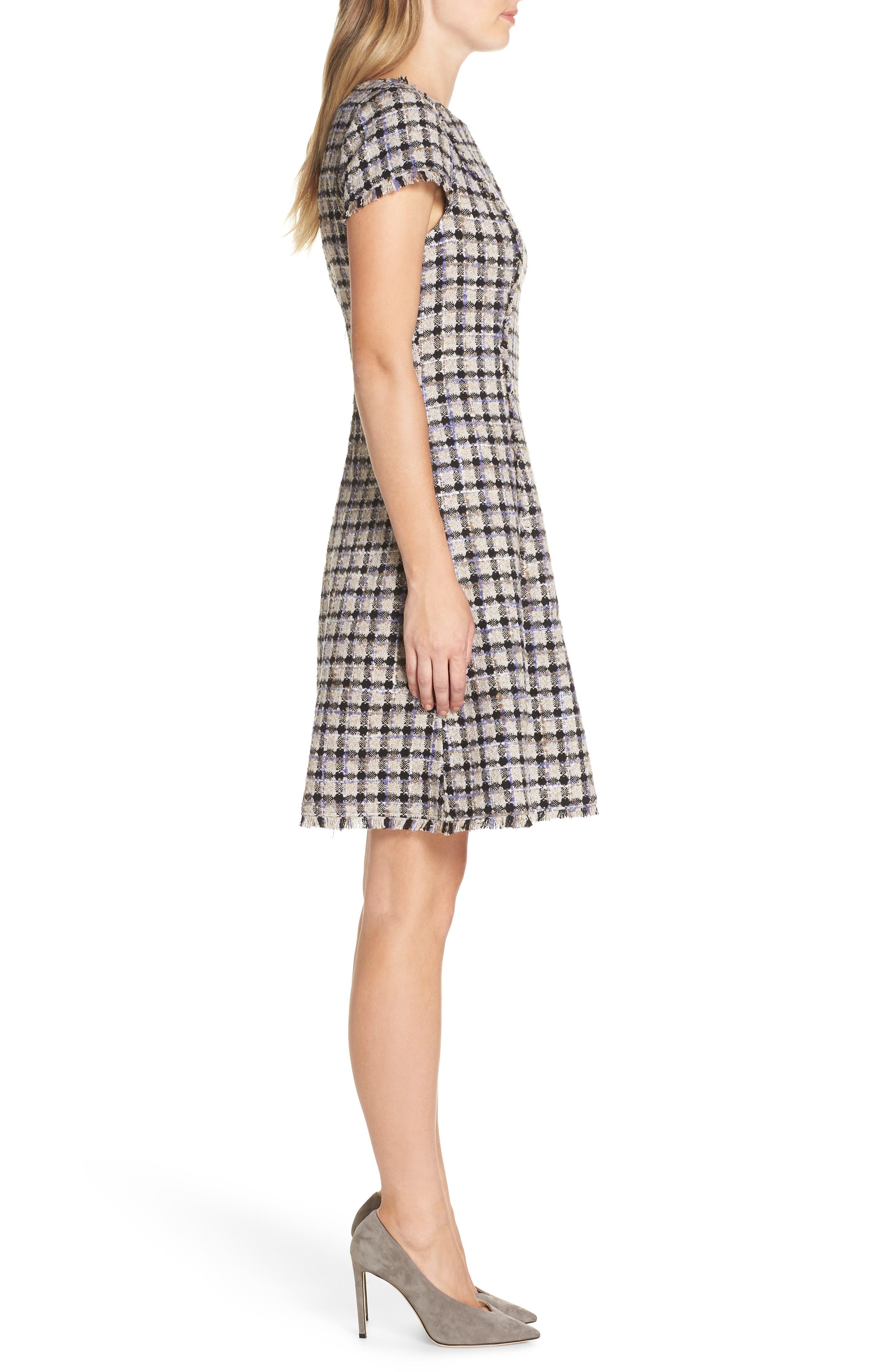 ELIZA J, Cap Sleeve Fit & Flare Dress, Alternate thumbnail 4, color, 900