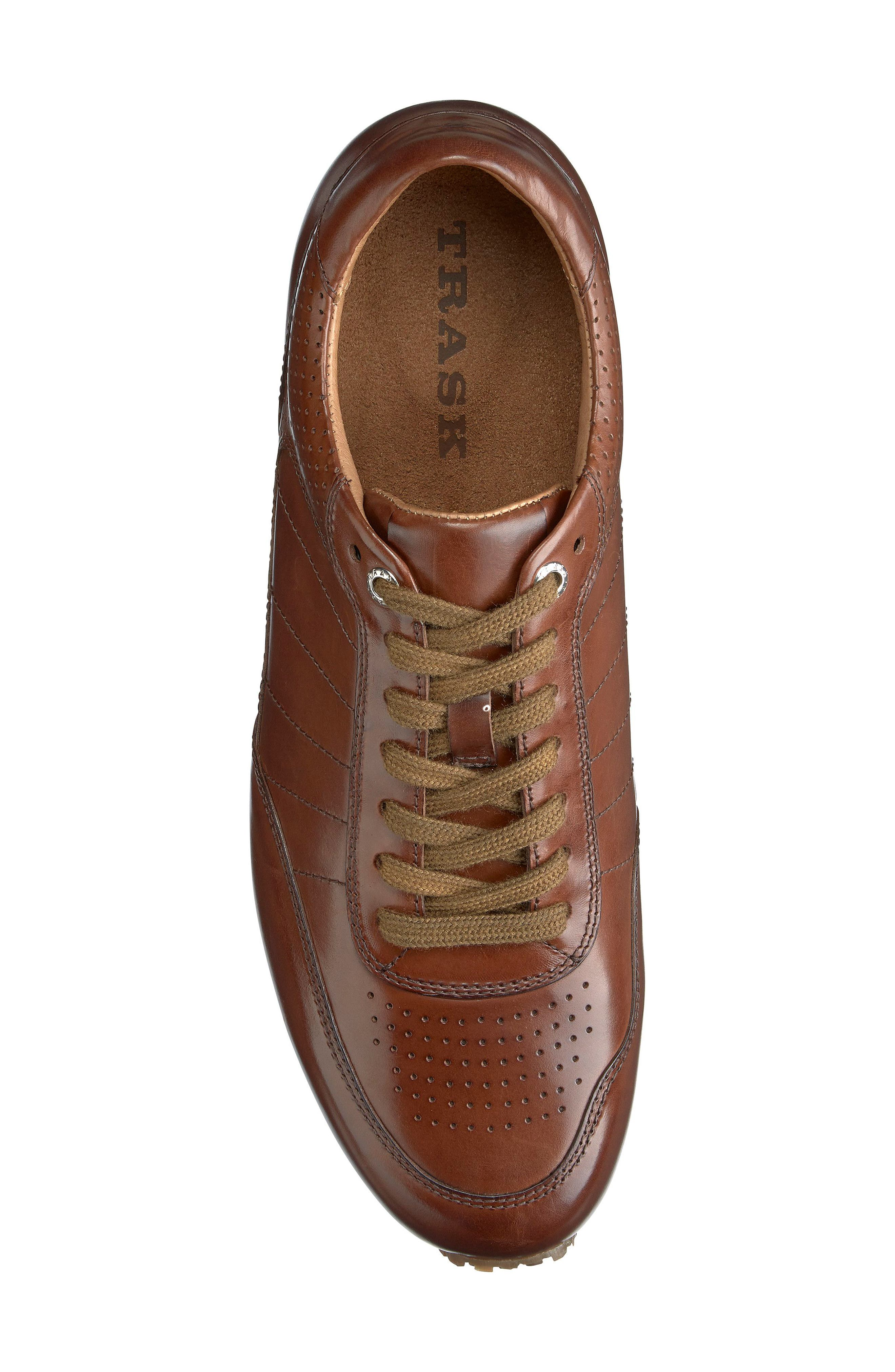 TRASK, Aiden Sneaker, Alternate thumbnail 5, color, BROWN LEATHER