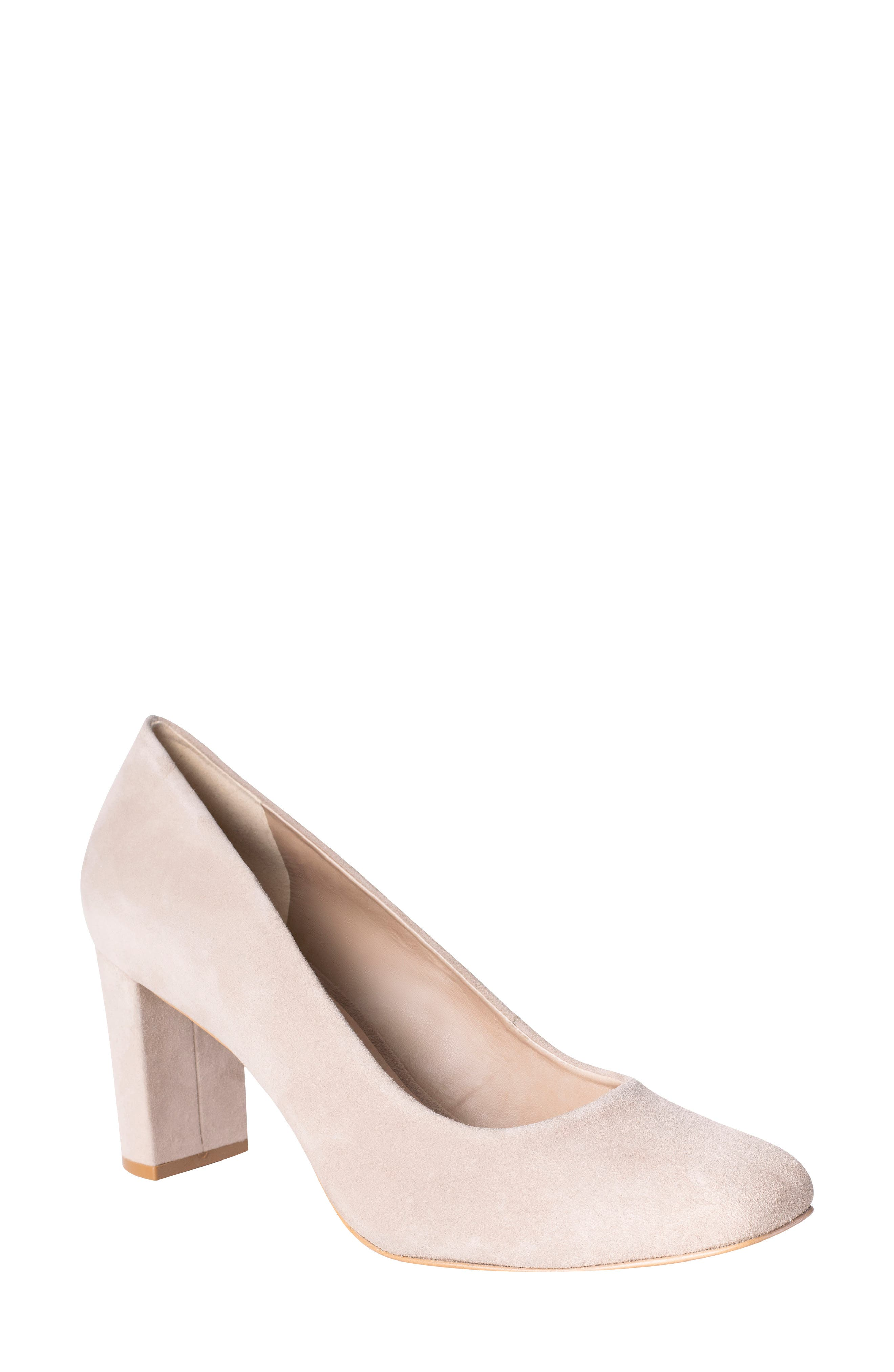 UKIES Brook Block Heel Pump, Main, color, MUSHROOM SUEDE