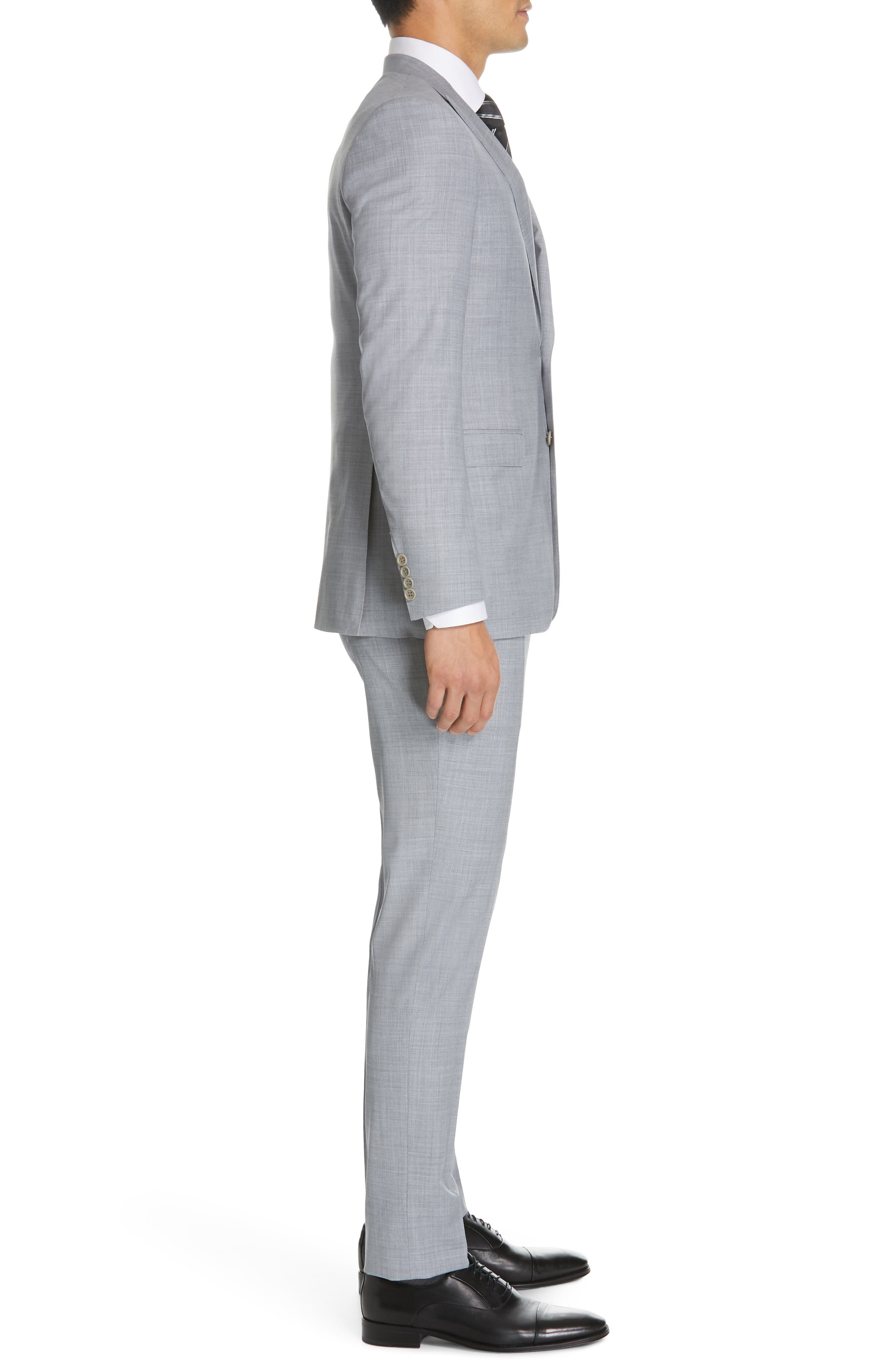 CANALI, Milano Classic Fit Solid Wool Suit, Alternate thumbnail 3, color, LIGHT GREY