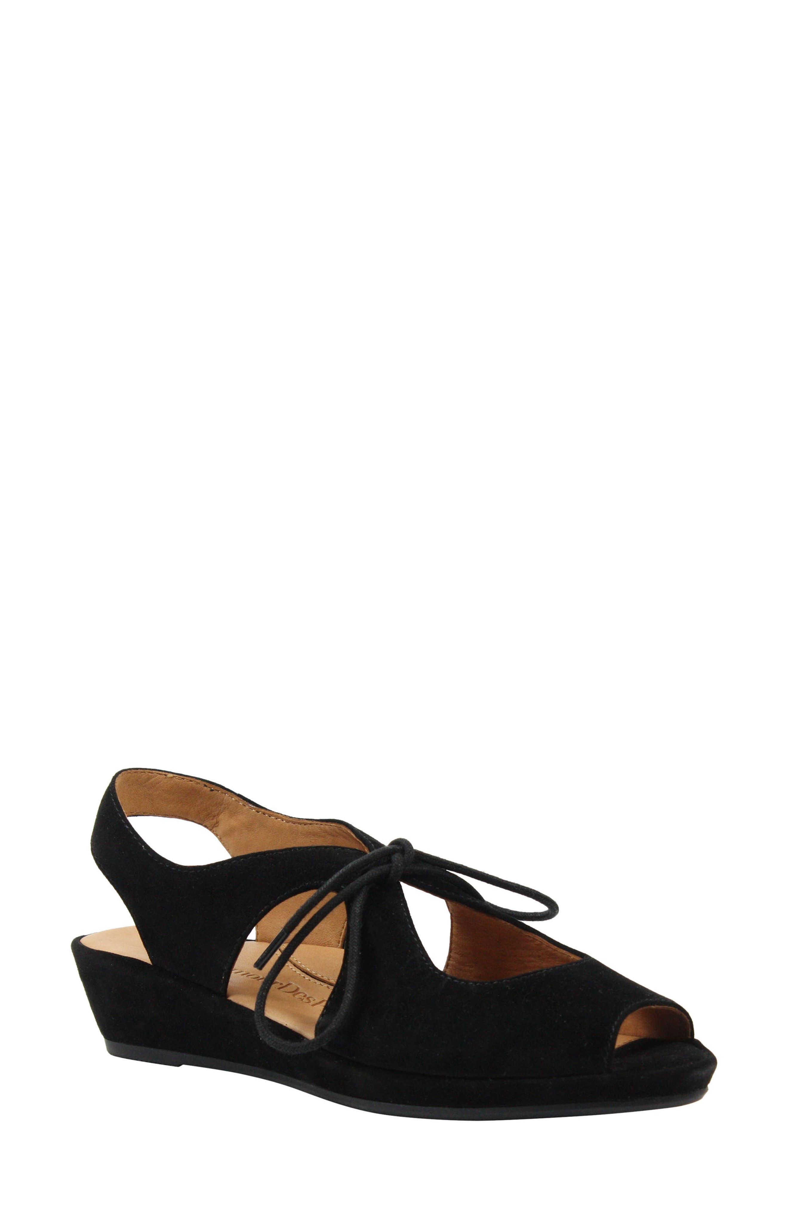 L'AMOUR DES PIEDS Brettany Sandal, Main, color, BLACK SUEDE