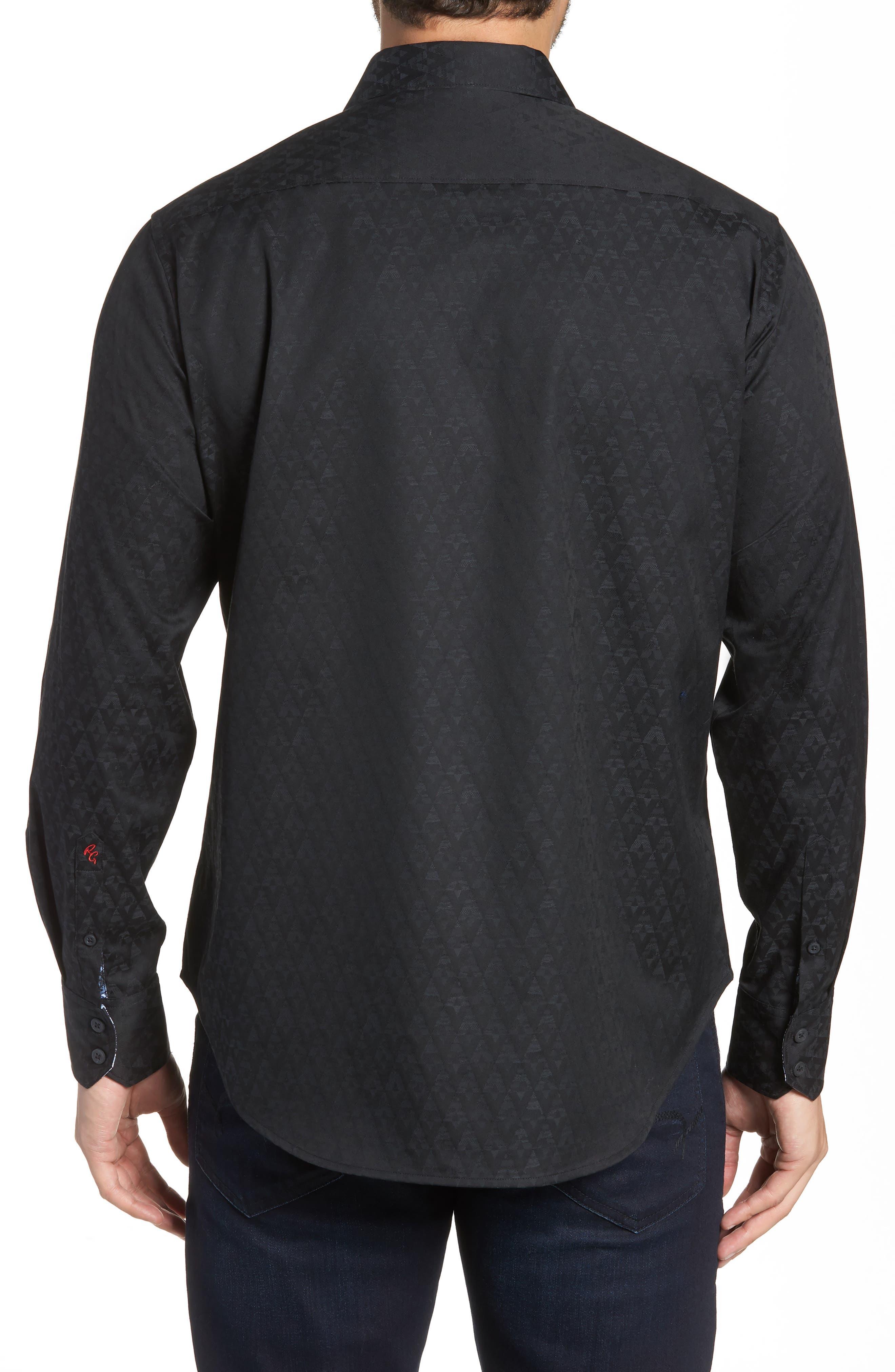 ROBERT GRAHAM, Classic Fit Stretch Geometric Sport Shirt, Alternate thumbnail 2, color, BLACK