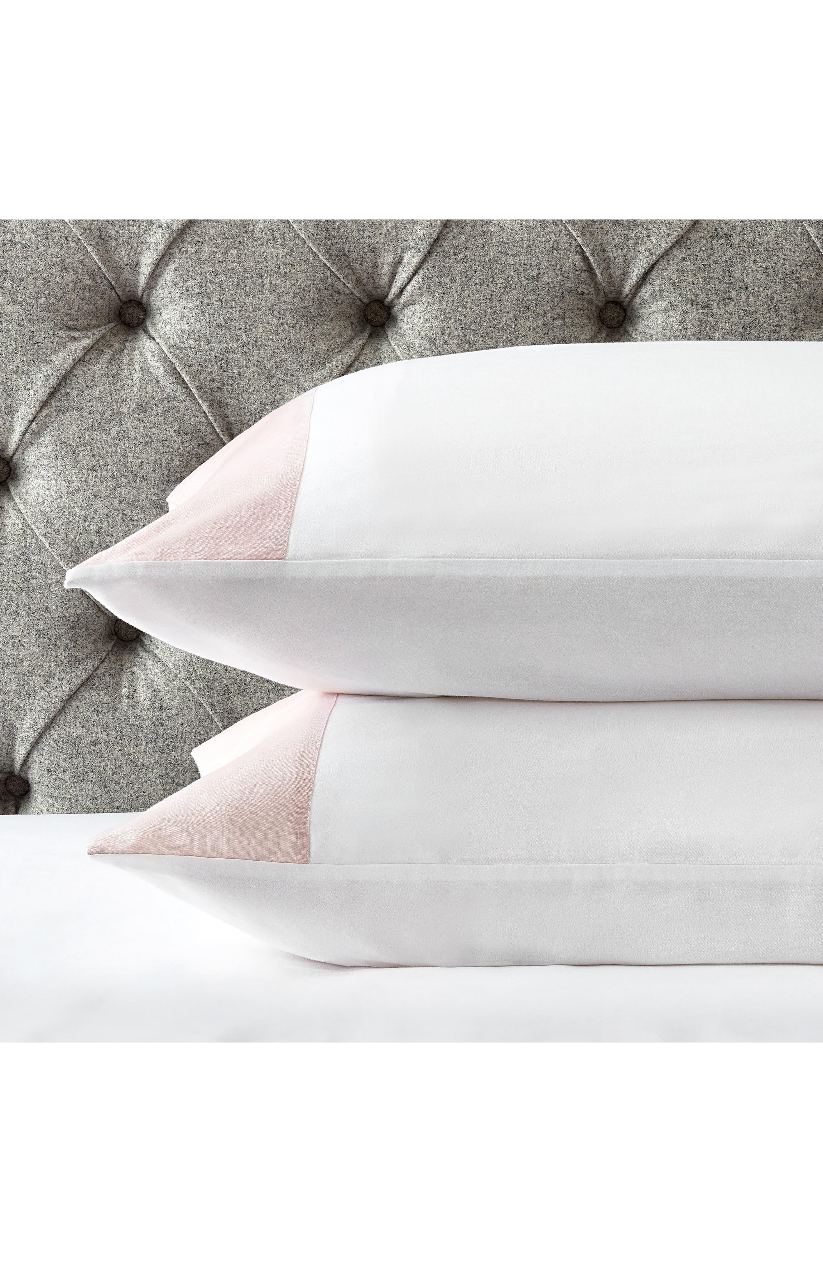 THE WHITE COMPANY, Portobello Pillowcase, Main thumbnail 1, color, PETAL/ WHITE