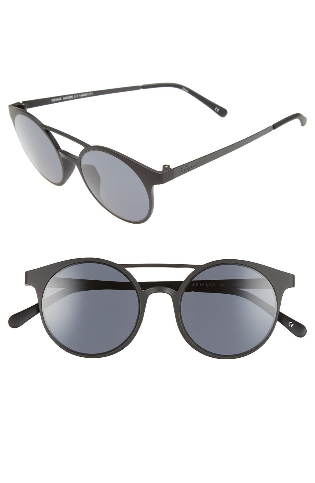 LE SPECS, 'Demo Mode' 49mm Aviator Sunglasses, Main thumbnail 1, color, 001