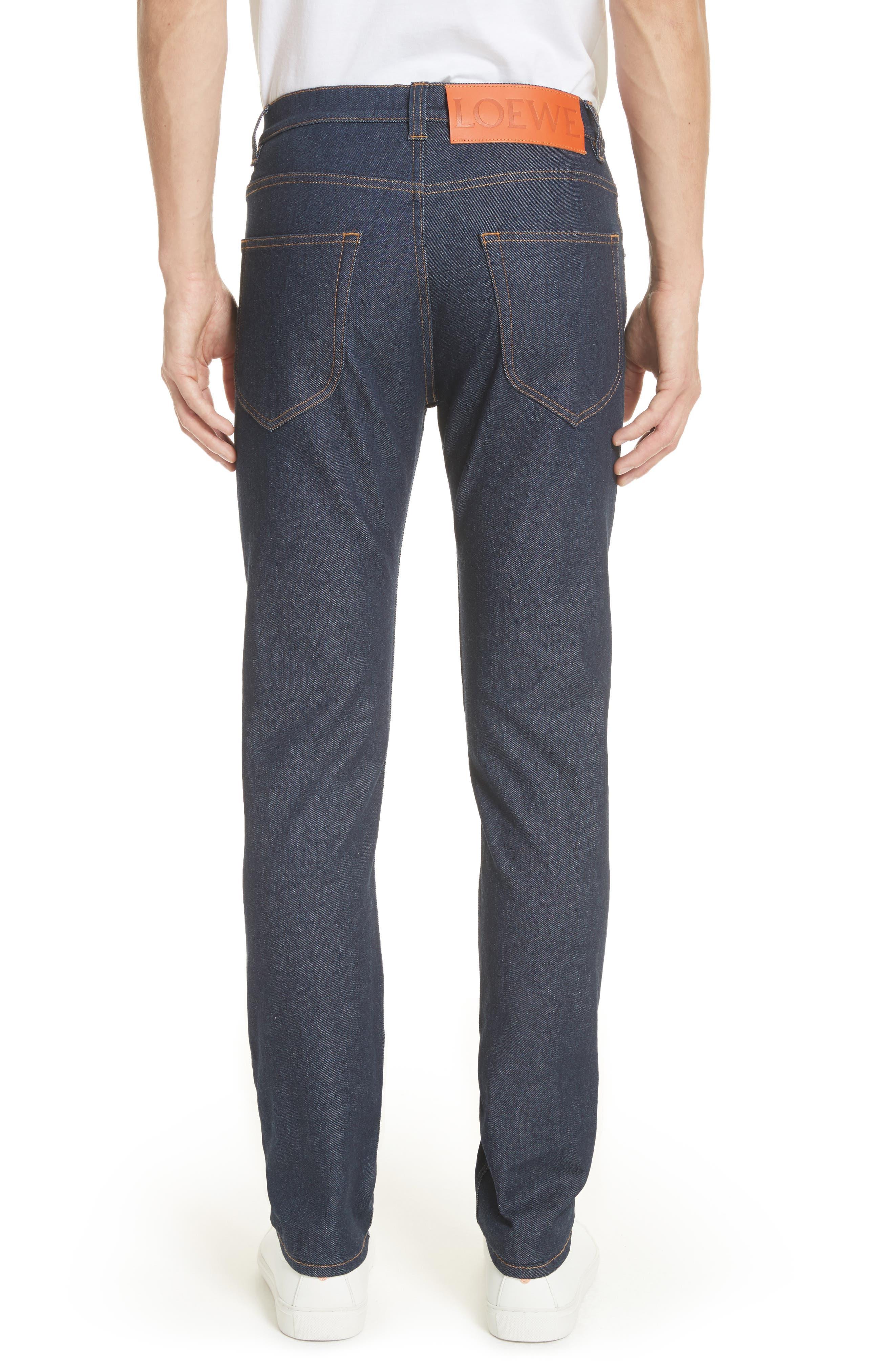 LOEWE, Skinny Fit Jeans, Alternate thumbnail 2, color, BLUE DENIM