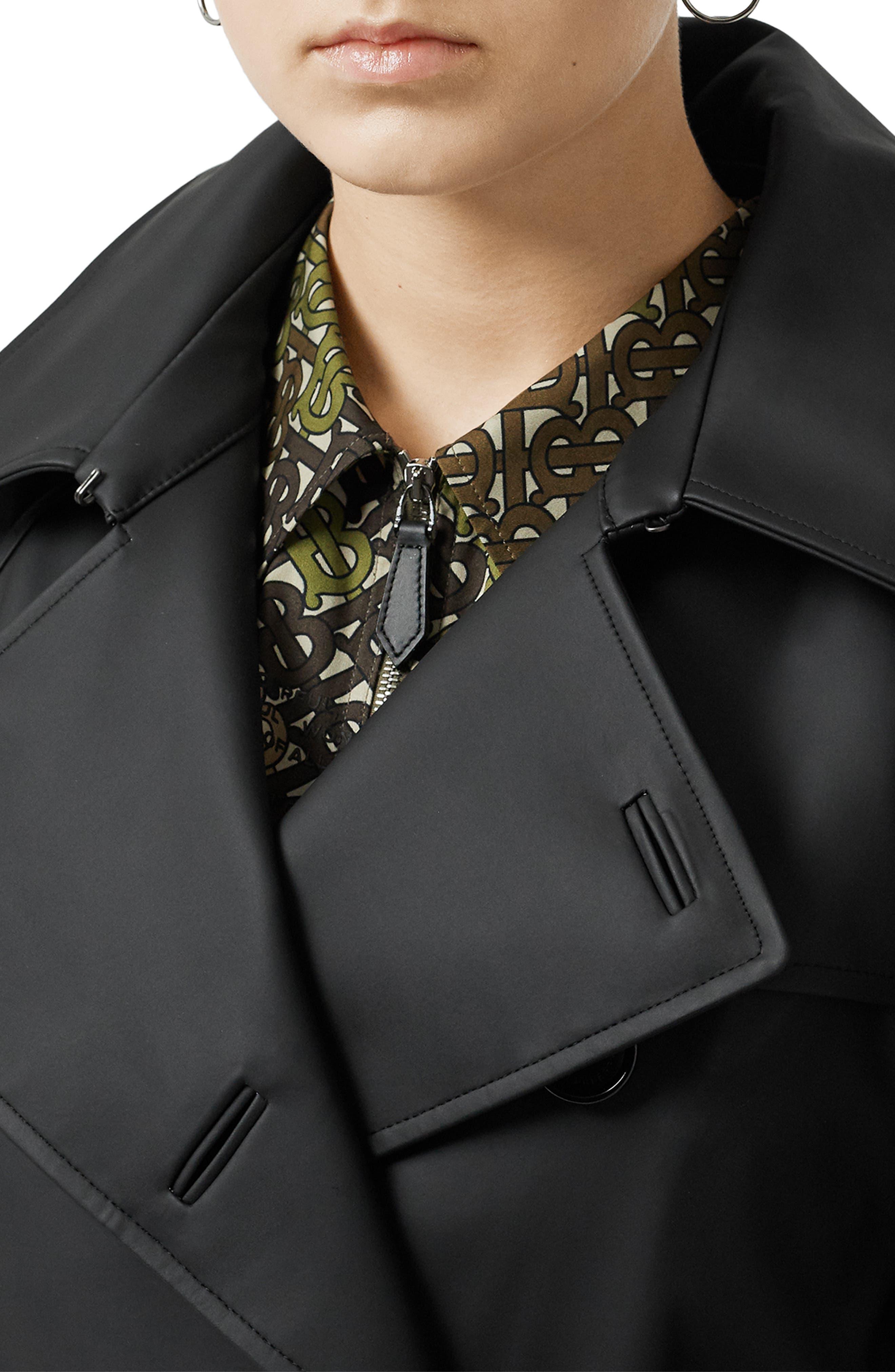 BURBERRY, Crostwick Side Slit Tropical Gabardine Trench Coat, Alternate thumbnail 4, color, BLACK