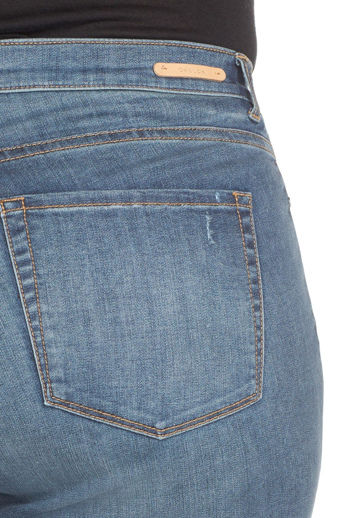 CASLON<SUP>®</SUP>, Distressed Stretch Ankle Skinny Jeans, Alternate thumbnail 5, color, 401