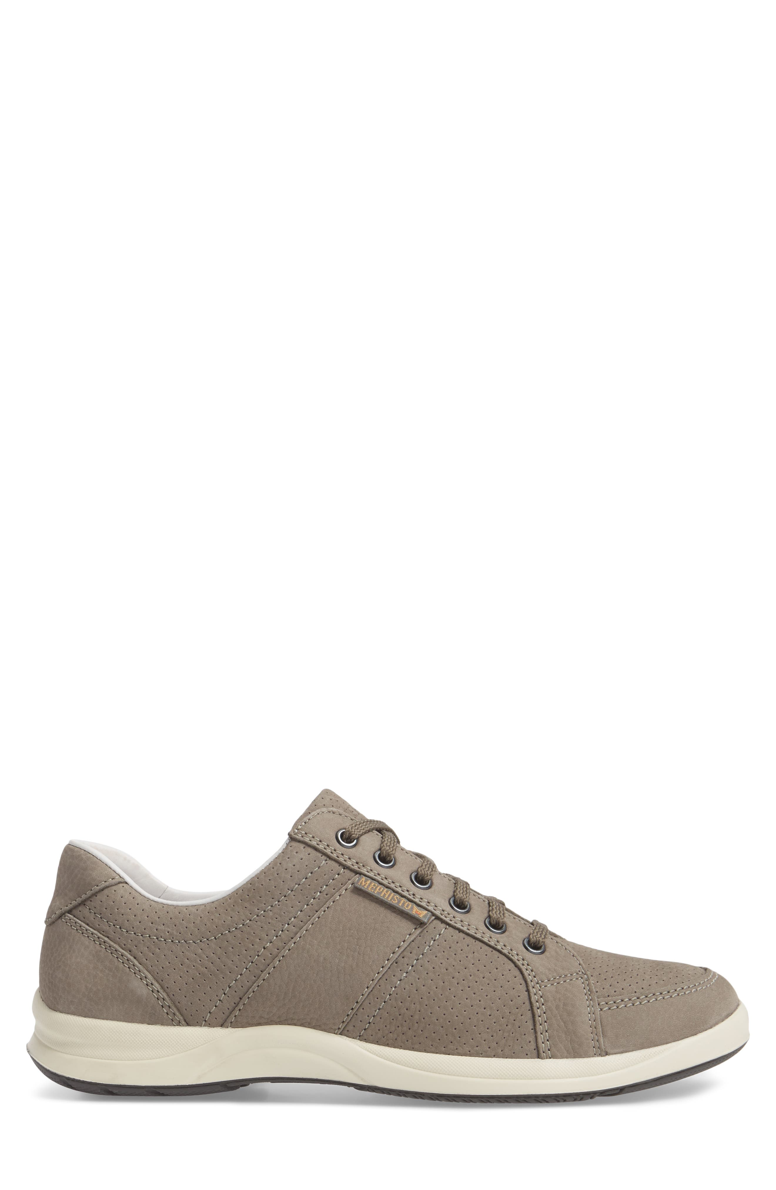 MEPHISTO, 'Hero' Perforated Sneaker, Alternate thumbnail 3, color, GREY LEATHER