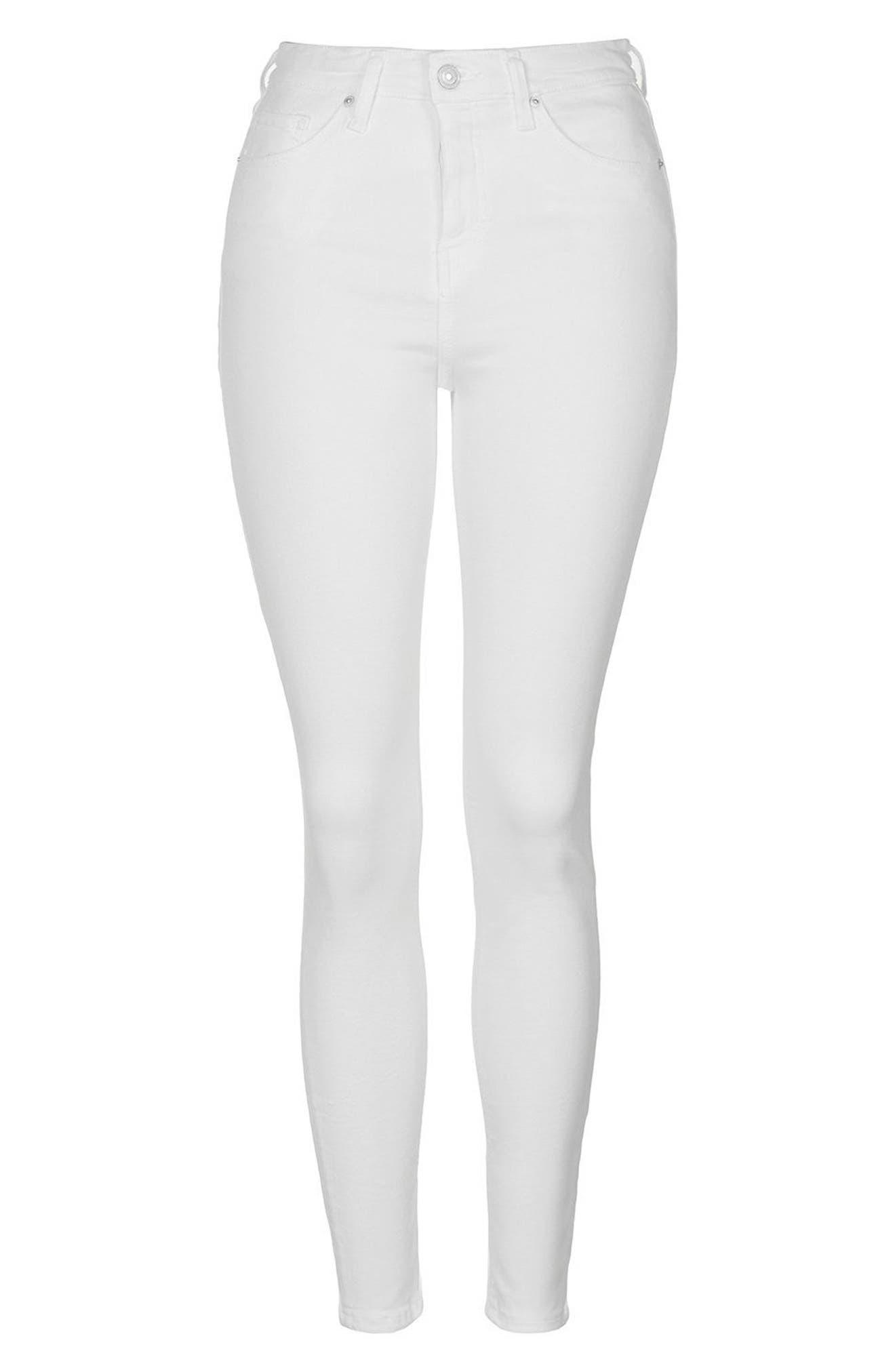 TOPSHOP, Moto Jamie Jeans, Alternate thumbnail 5, color, WHITE