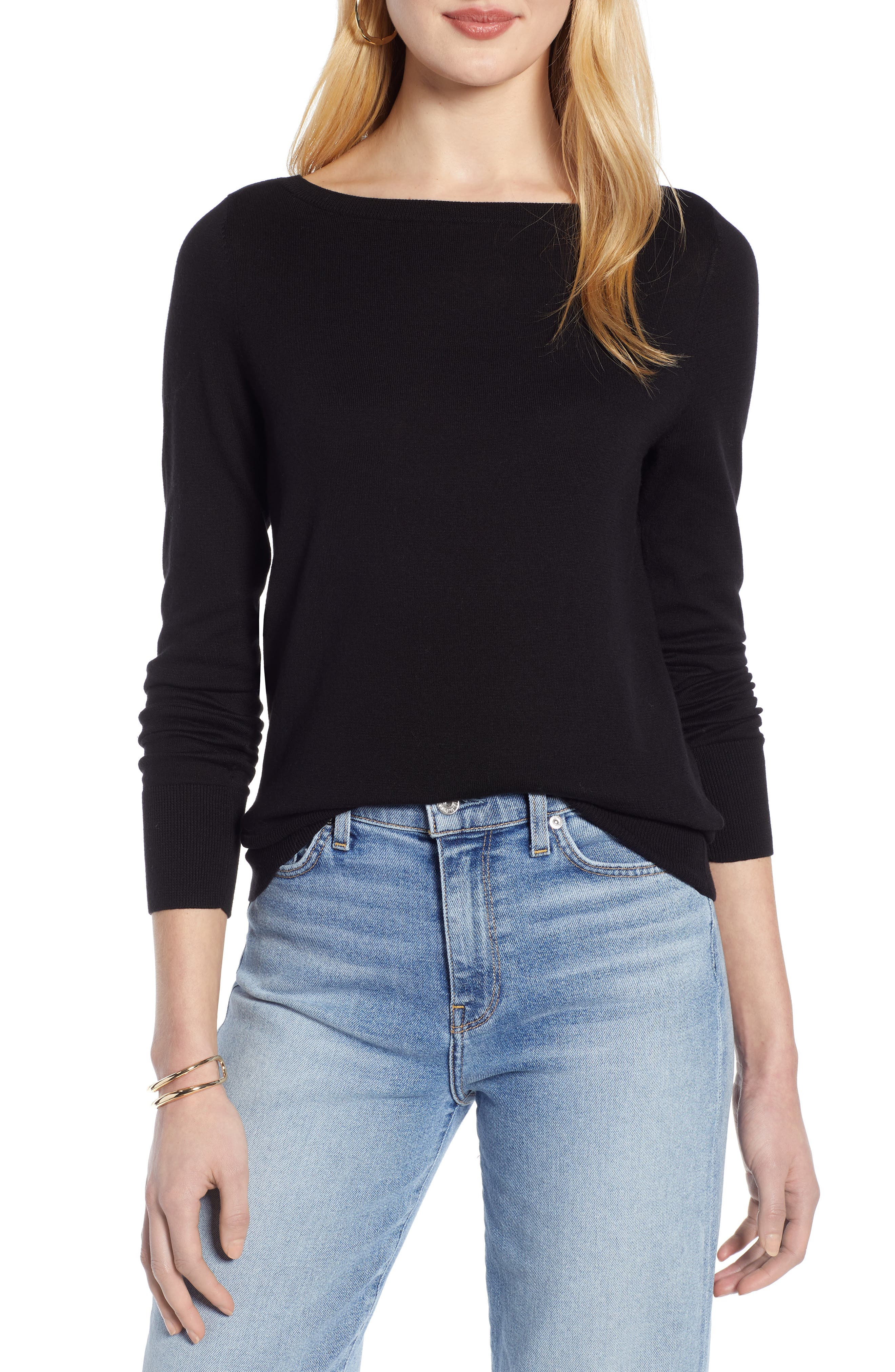 HALOGEN<SUP>®</SUP> Bateau Neck Sweater, Main, color, BLACK