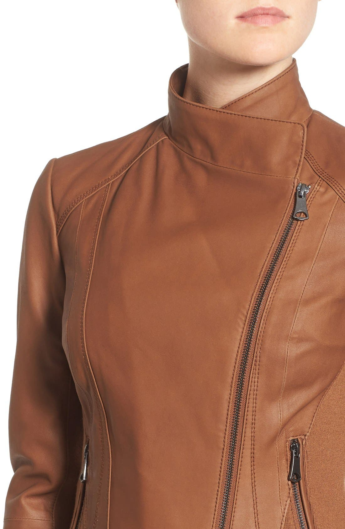 ANDREW MARC, Marc New York by Andrew Marc Felix Stand Collar Leather Jacket, Alternate thumbnail 13, color, WHISKEY