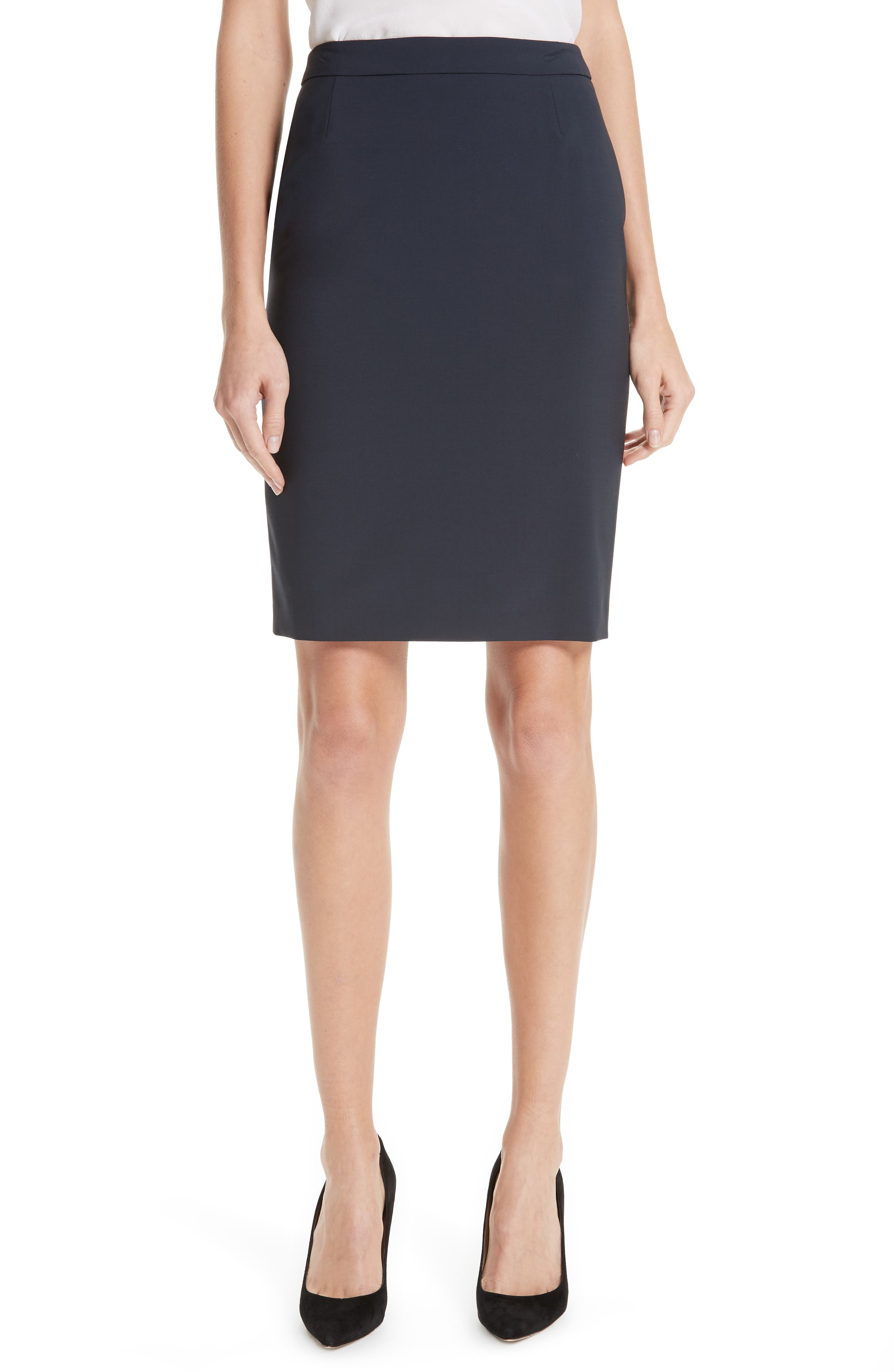 BOSS, Vilea Tropical Stretch Wool Pencil Skirt, Main thumbnail 1, color, NAVY