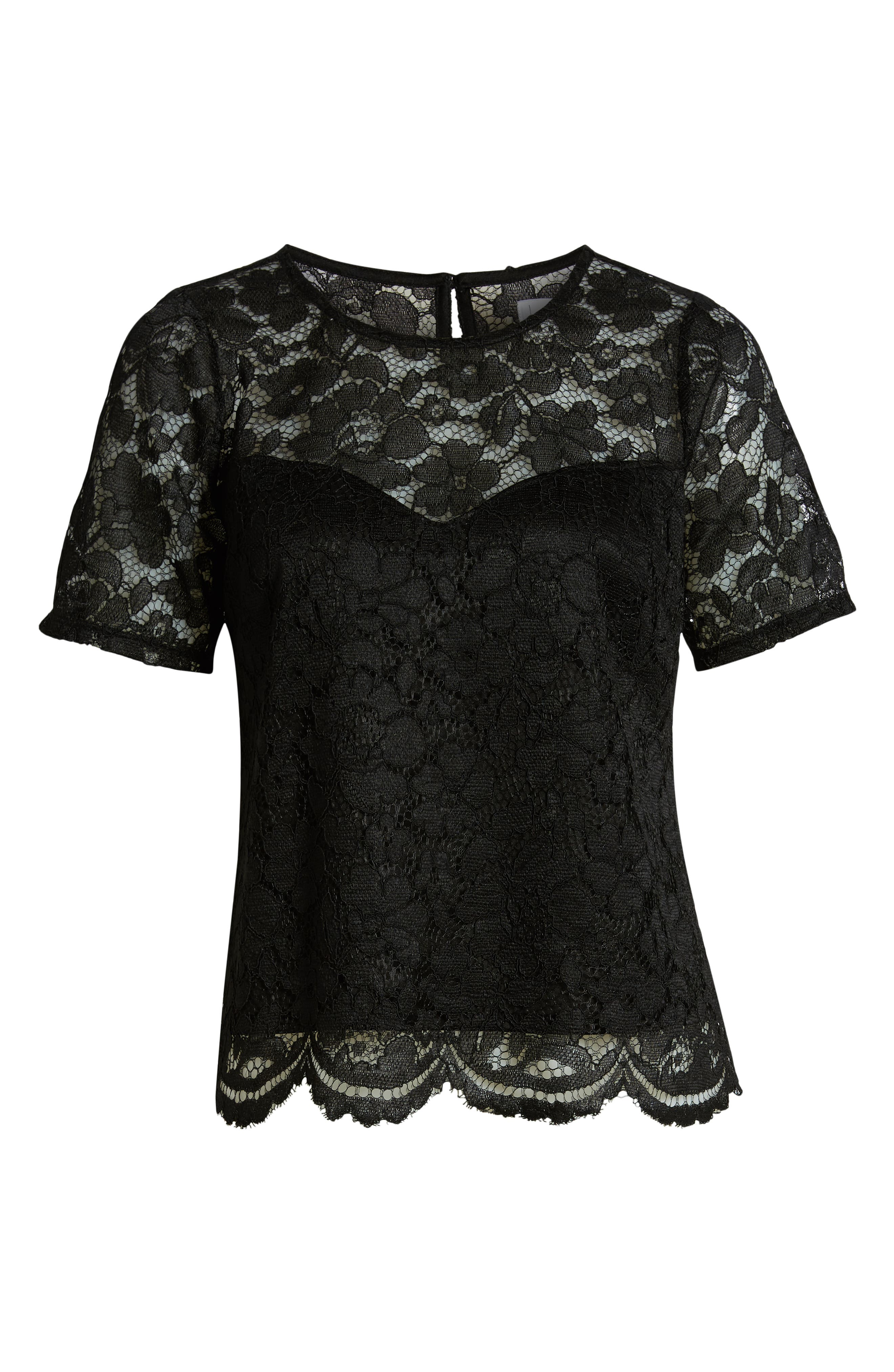 LEITH, Scalloped Lace Tee, Alternate thumbnail 6, color, BLACK