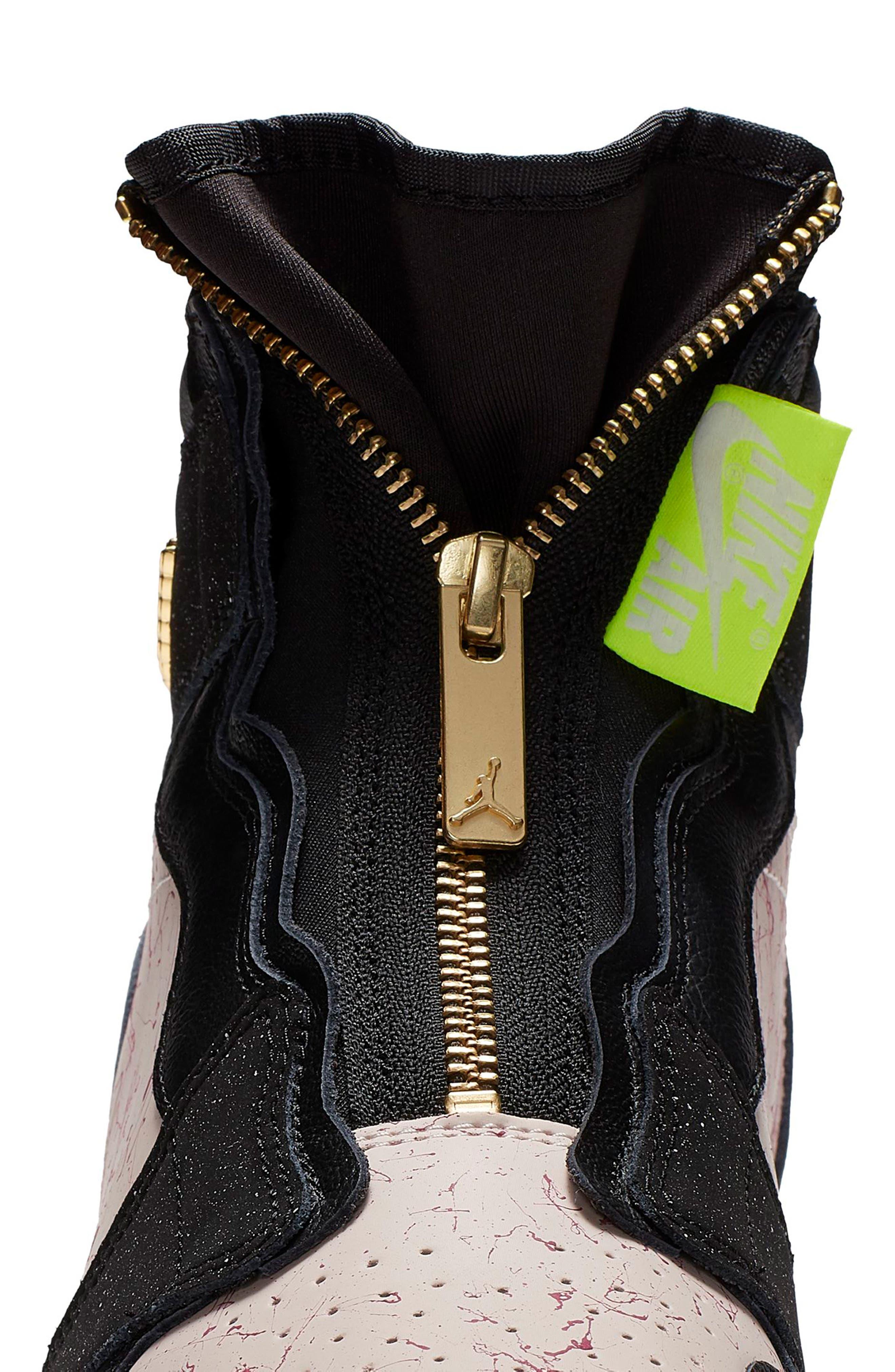 NIKE, Air Jordan 1 Zip High Top Sneakers, Alternate thumbnail 4, color, BLACK/ GOLD/ PHANTOM/ RED