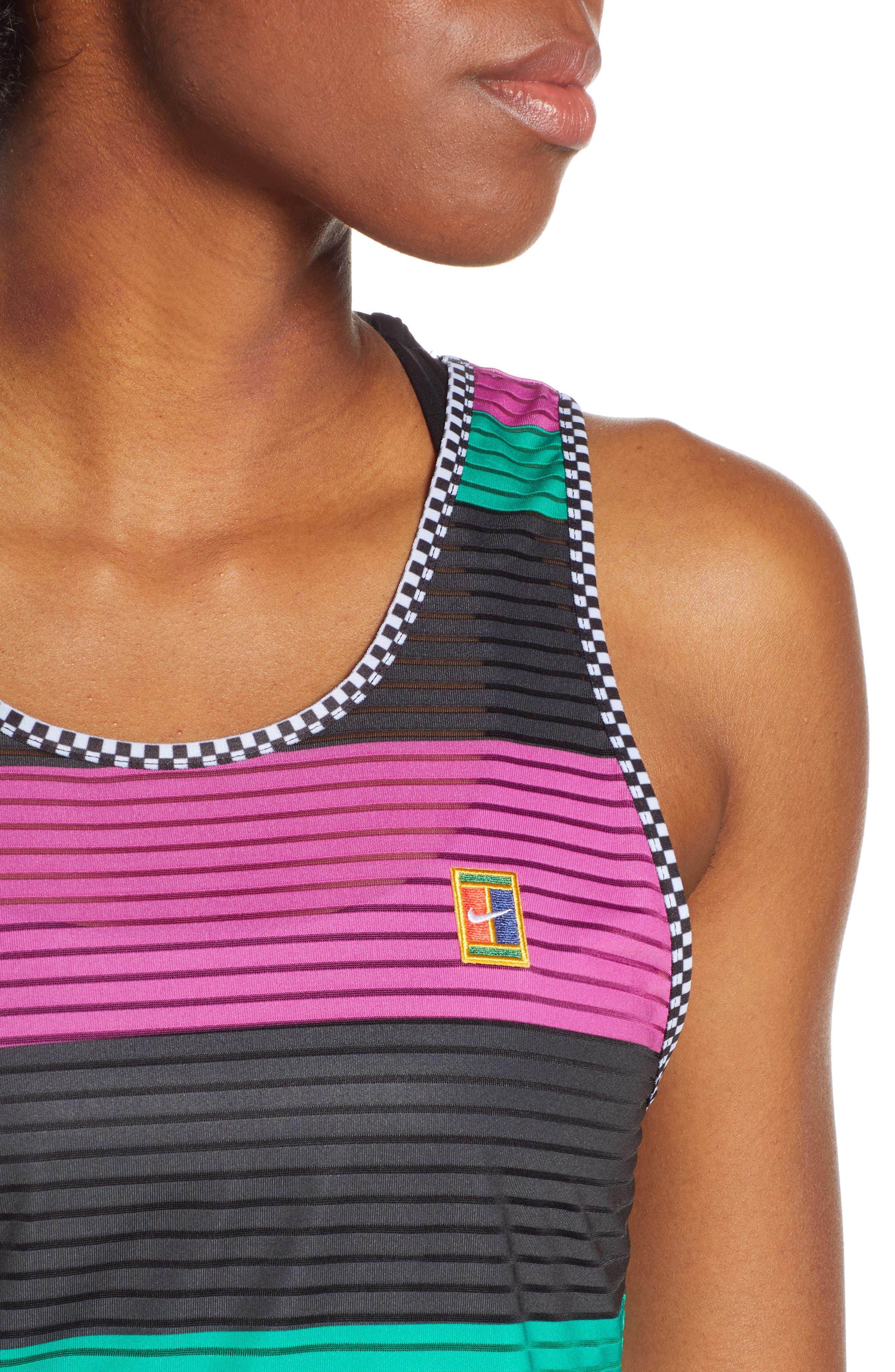 NIKE, Court Dri-FIT Tennis Tank, Alternate thumbnail 5, color, ACTIVE FUCHSIA/ BLACK/ WHITE