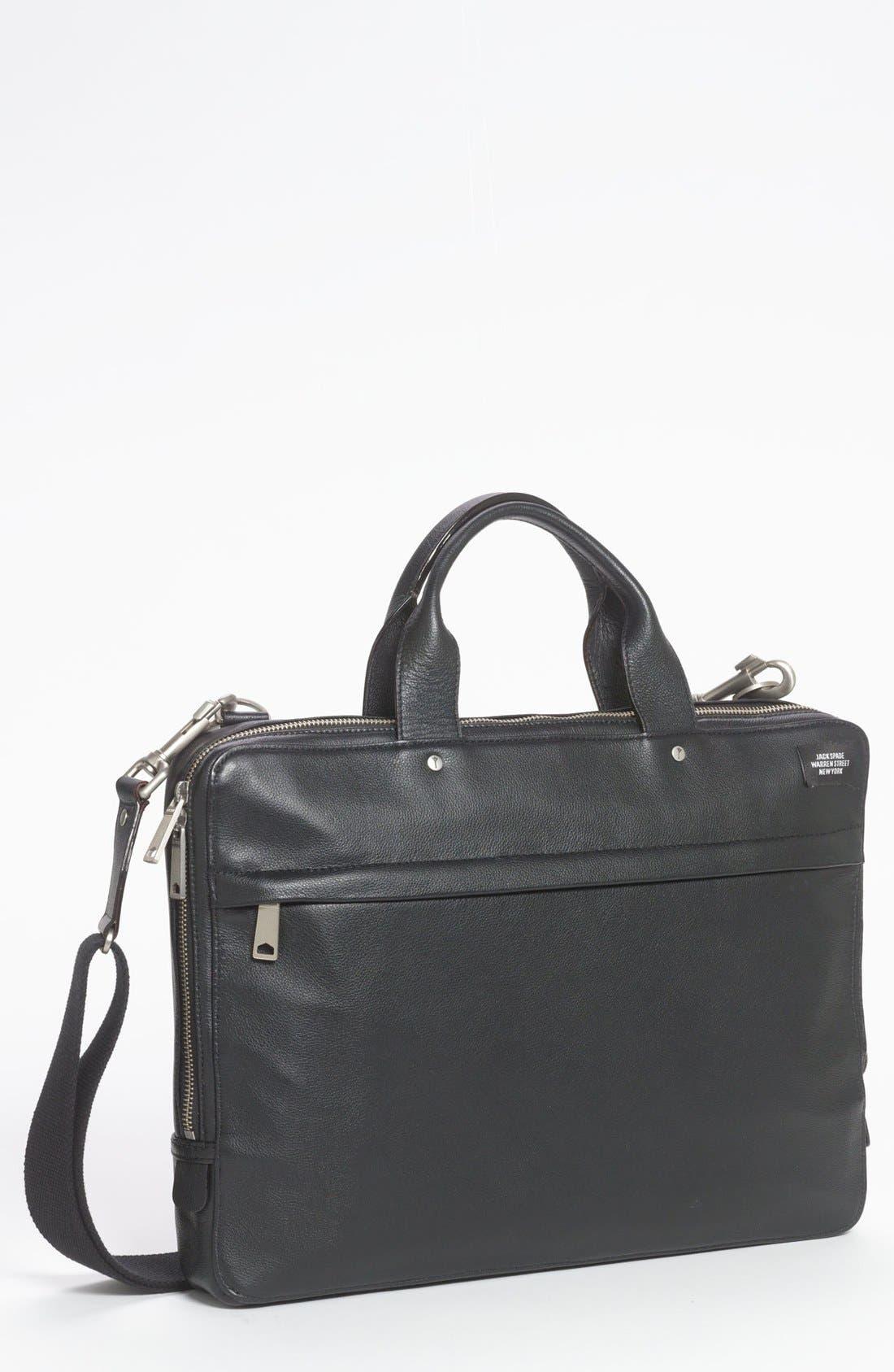 JACK SPADE Slim Leather Briefcase, Main, color, 001