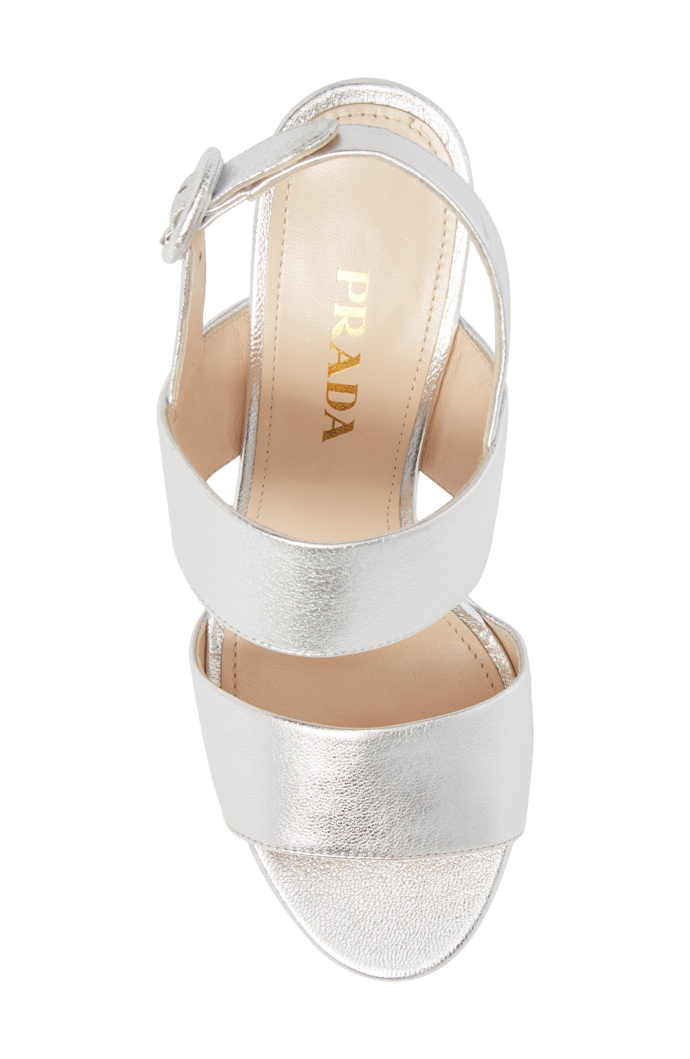 PRADA, Double Band Platform Sandal, Alternate thumbnail 5, color, SILVER