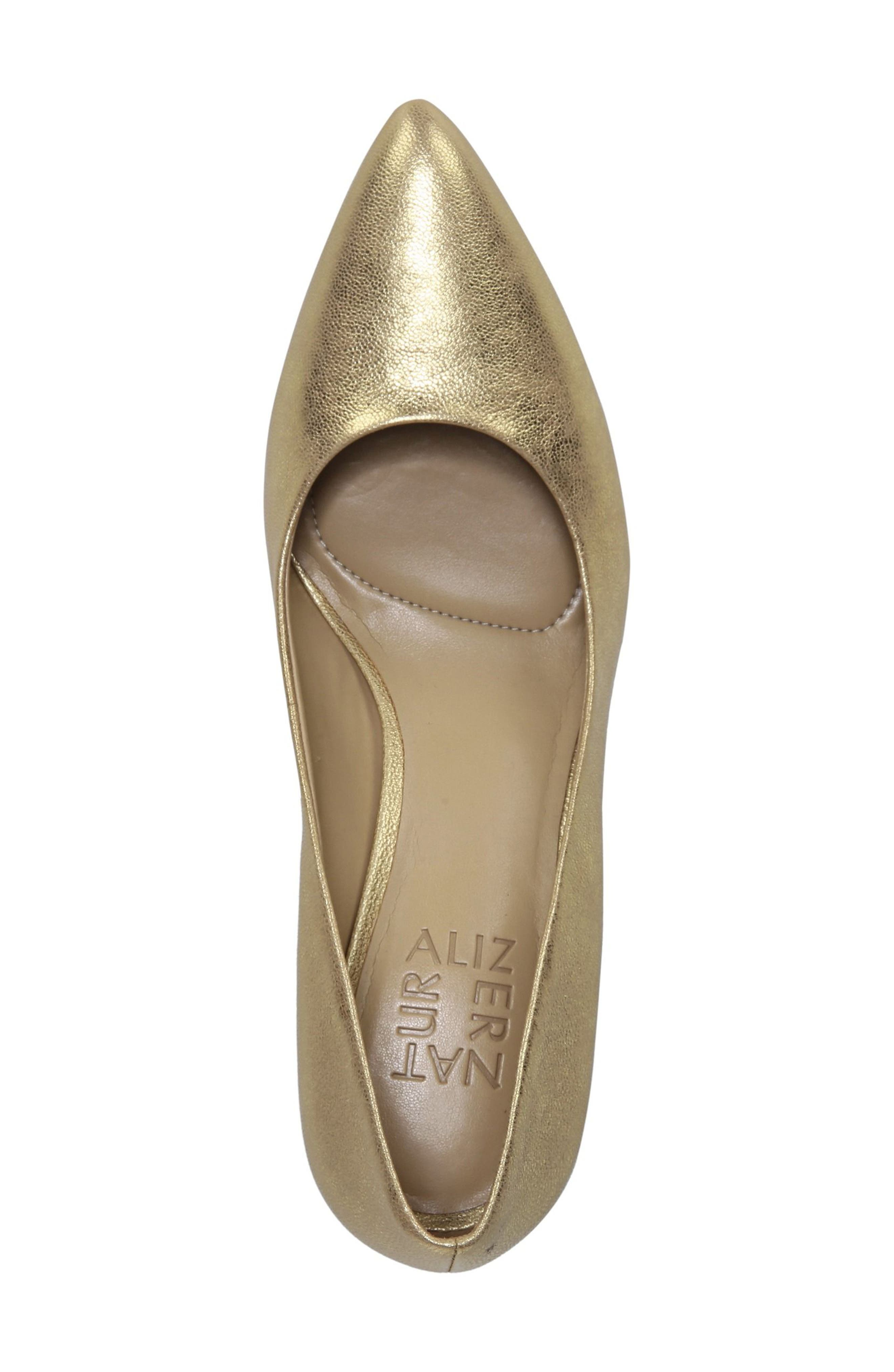NATURALIZER, Natalie Pointy Toe Pump, Alternate thumbnail 5, color, GOLD LEATHER