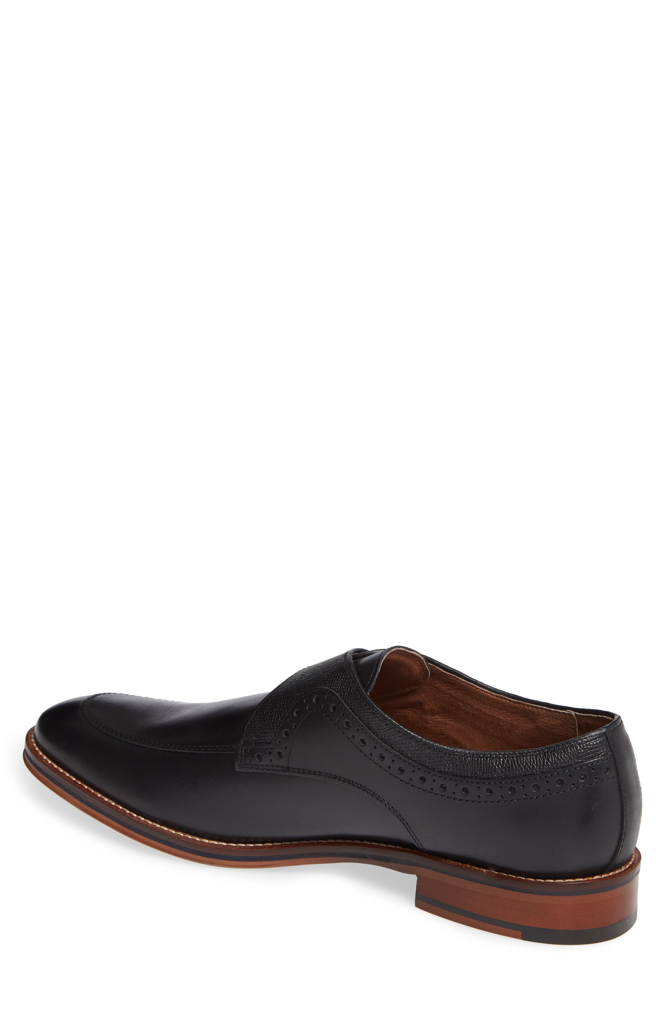 JOHNSTON & MURPHY, Conard Monk Strap Shoe, Alternate thumbnail 2, color, BLACK LEATHER