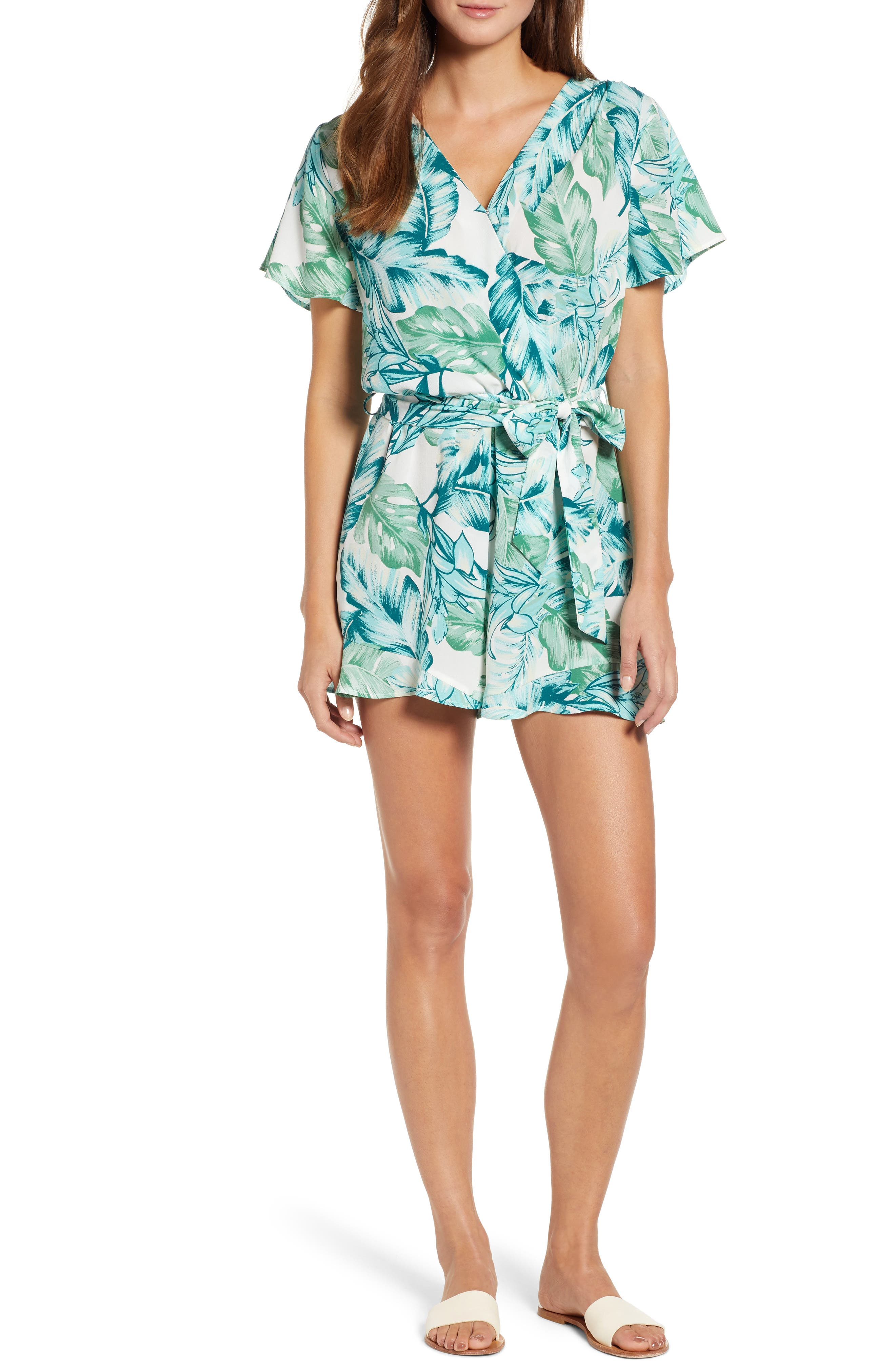 GIBSON, x Hi Sugarplum! Catalina Ruffle Hem Romper, Main thumbnail 1, color, PALM
