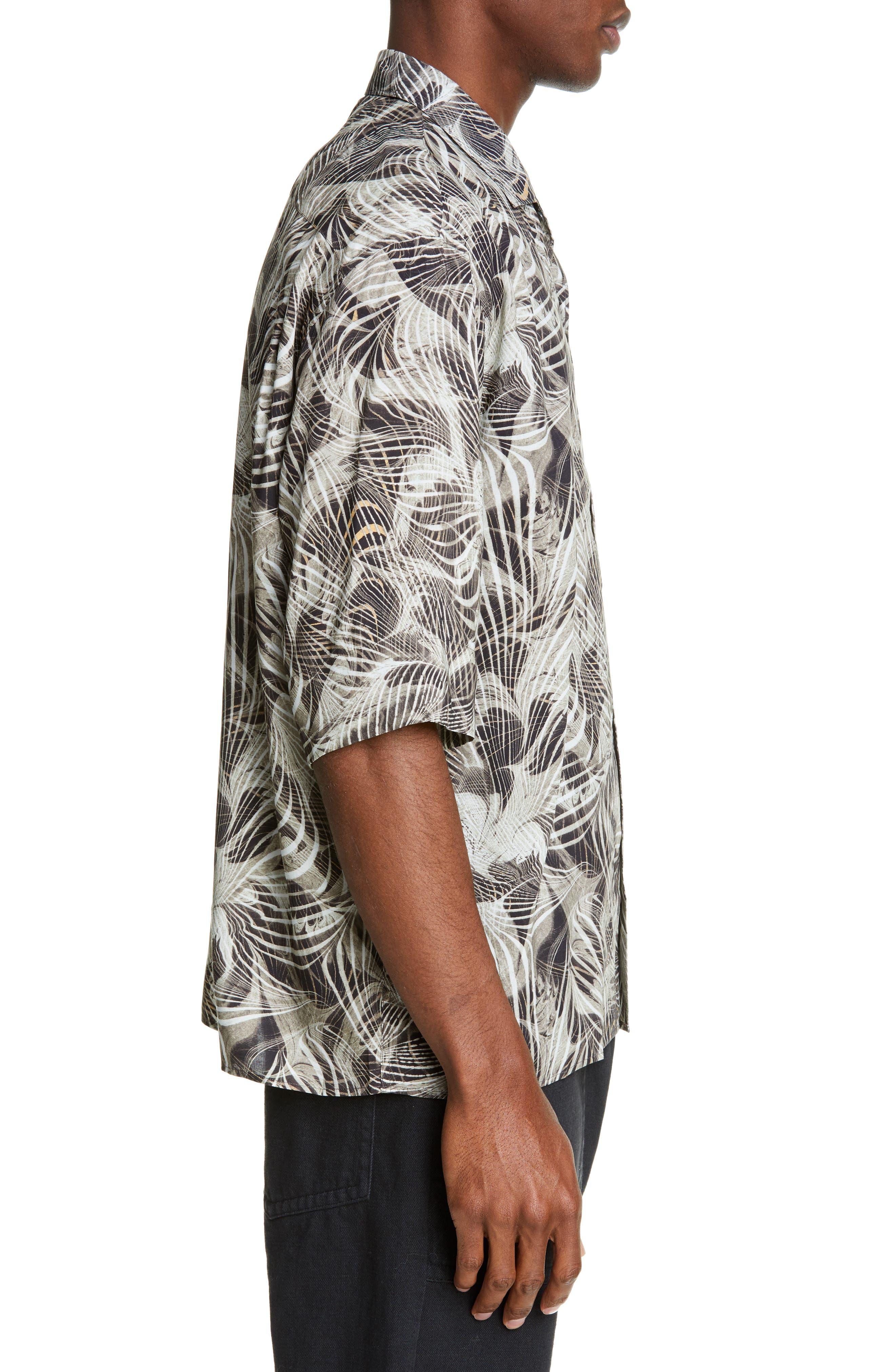 LEMAIRE, Tropical Print Sport Shirt, Alternate thumbnail 3, color, CHALK BLACK